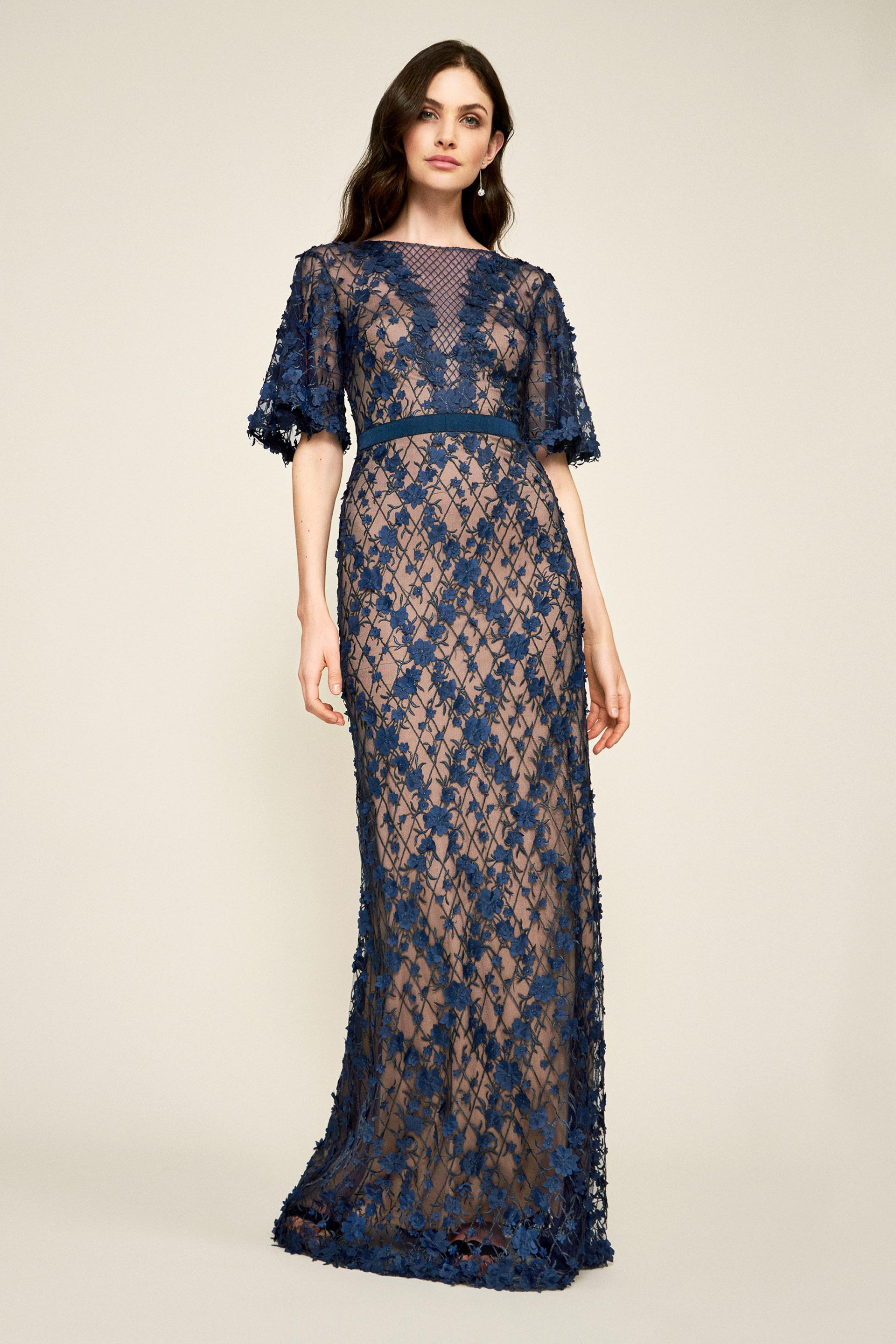 ae45c2a6a1 Lyst - Tadashi Shoji Coriander Embroidered Tulle Gown in Blue