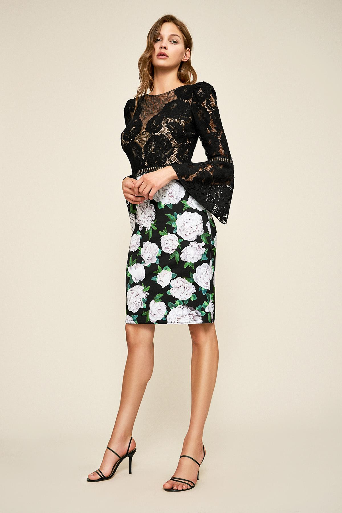 82efccd966a3 Lyst - Tadashi Shoji Gower Floral Neoprene Dress in Black - Save 43%