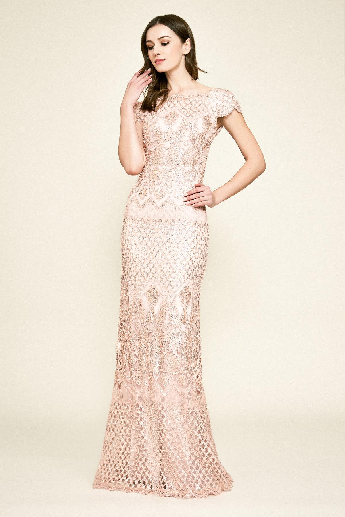 5b363cca41b Tadashi Shoji Lenoir Sequin Embroidered Gown in Pink - Lyst