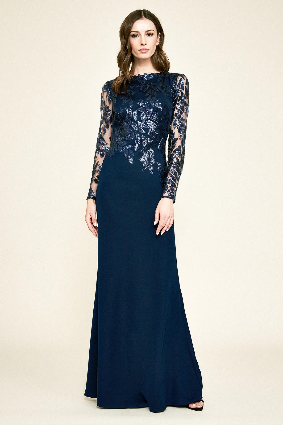 2d548e162278c Tadashi Shoji Gaia Long-sleeve Crepe & Sequin Gown in Blue - Lyst