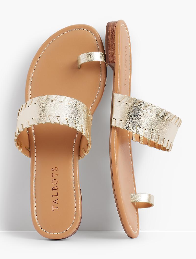 fb38c4faa45 Lyst - Talbots Gia Toe-ring Sandals-metallic Leather in Metallic
