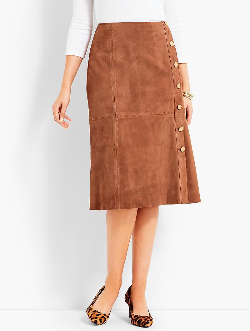 77125e6526 Talbots Suede Gold-button Skirt in Brown - Lyst
