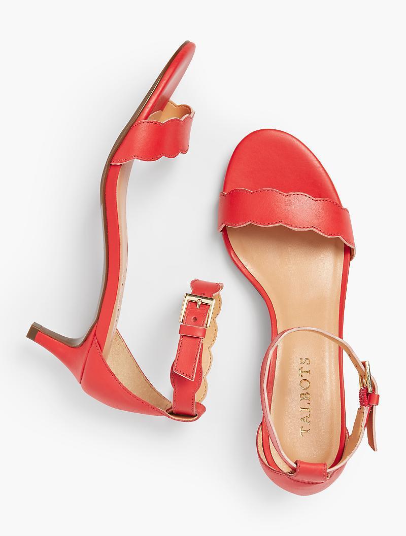 3dd1972f3 Lyst - Talbots Pila Kitten-heel Sandals - Vachetta Leather in Red
