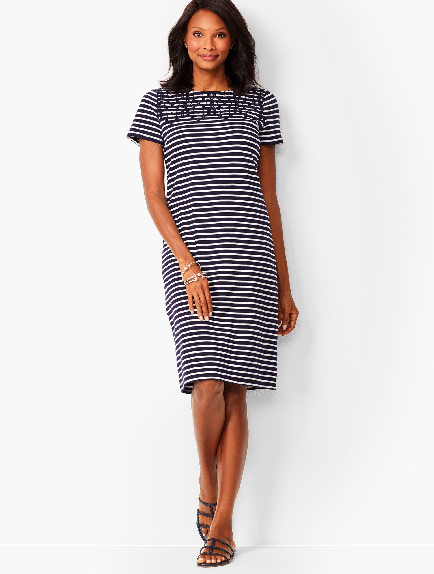 2612a17fe0 Lyst - Talbots Embroidered Yoke Shift Dress in Blue