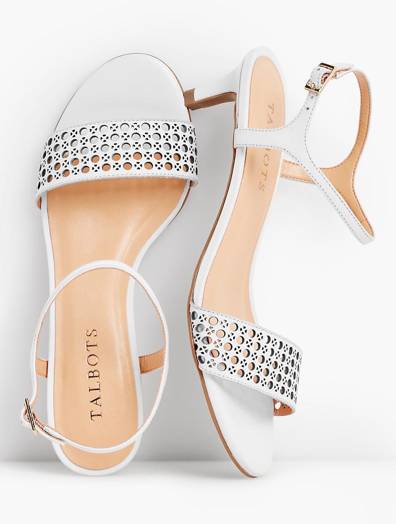 d8ea59096 Lyst - Talbots Pila Perfortated Kitten-heel Sandals-vachetta Leather ...