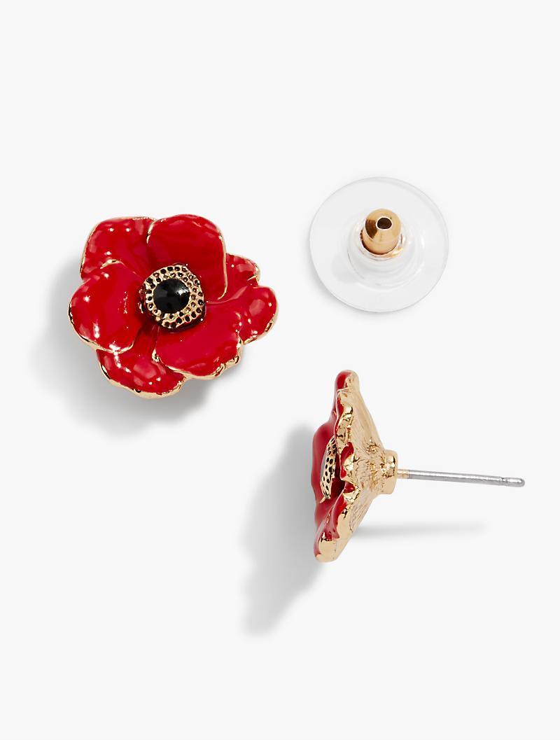 c2fe5d009 Talbots Poppy Flower Earrings in Red - Lyst