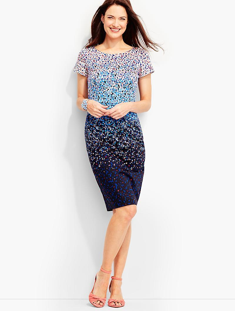 Lyst Talbots Ombre Floral Dress In Blue