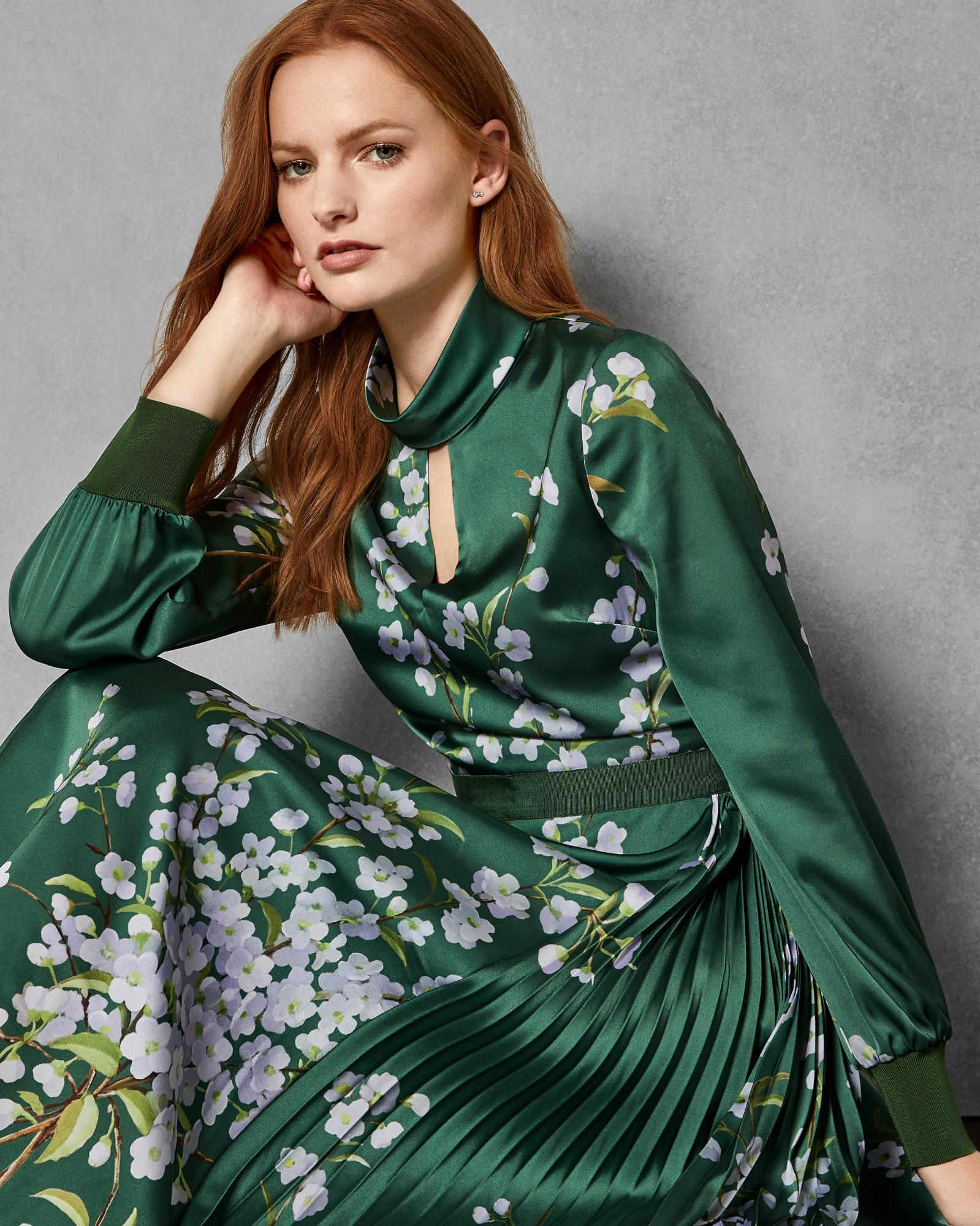 275897331 Ted Baker Graceful Satin Midi Dress in Green - Save 30% - Lyst