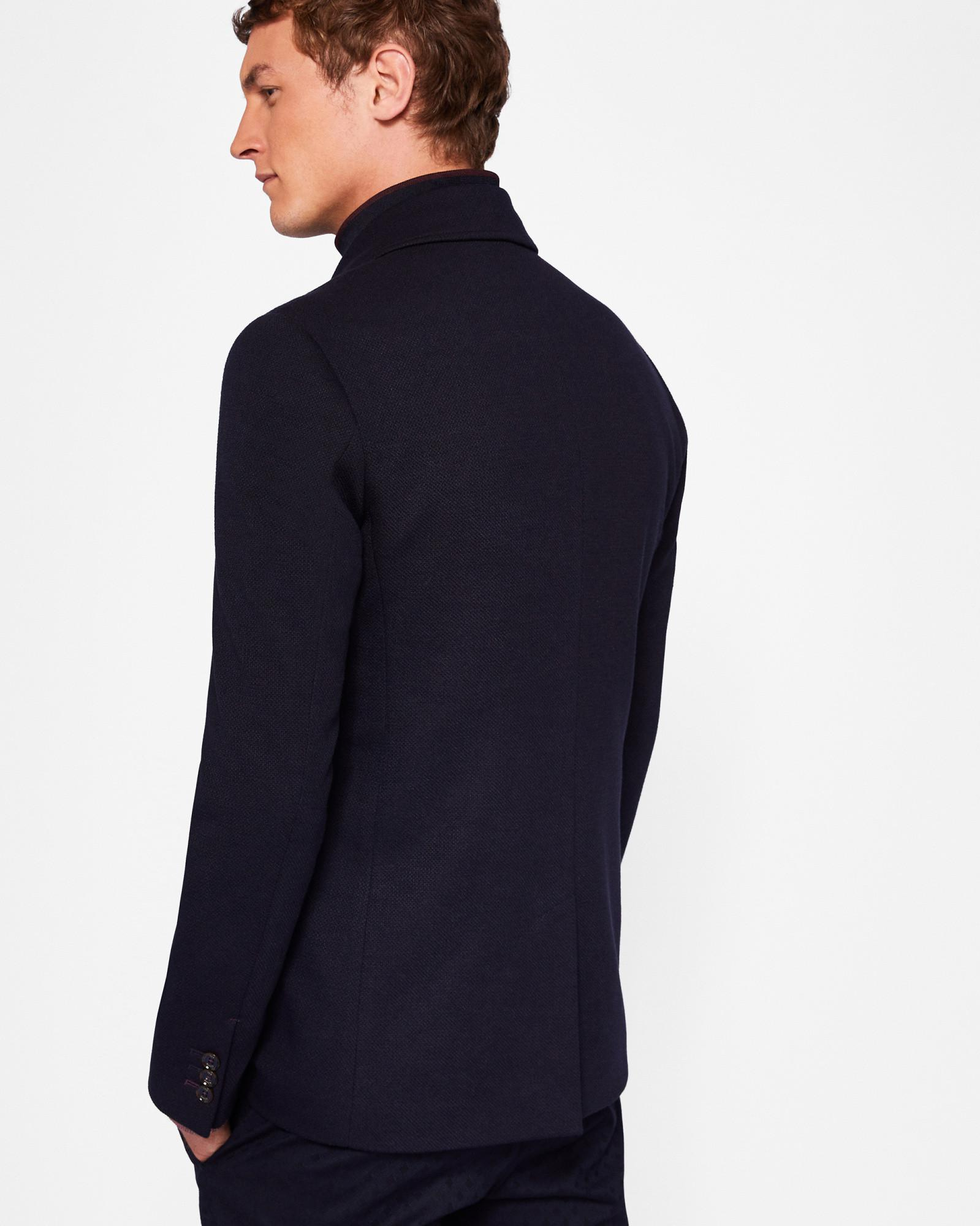17014318fa3cf6 Ted Baker Jersey Jacket With Inner Funnel Neck in Blue for Men - Lyst