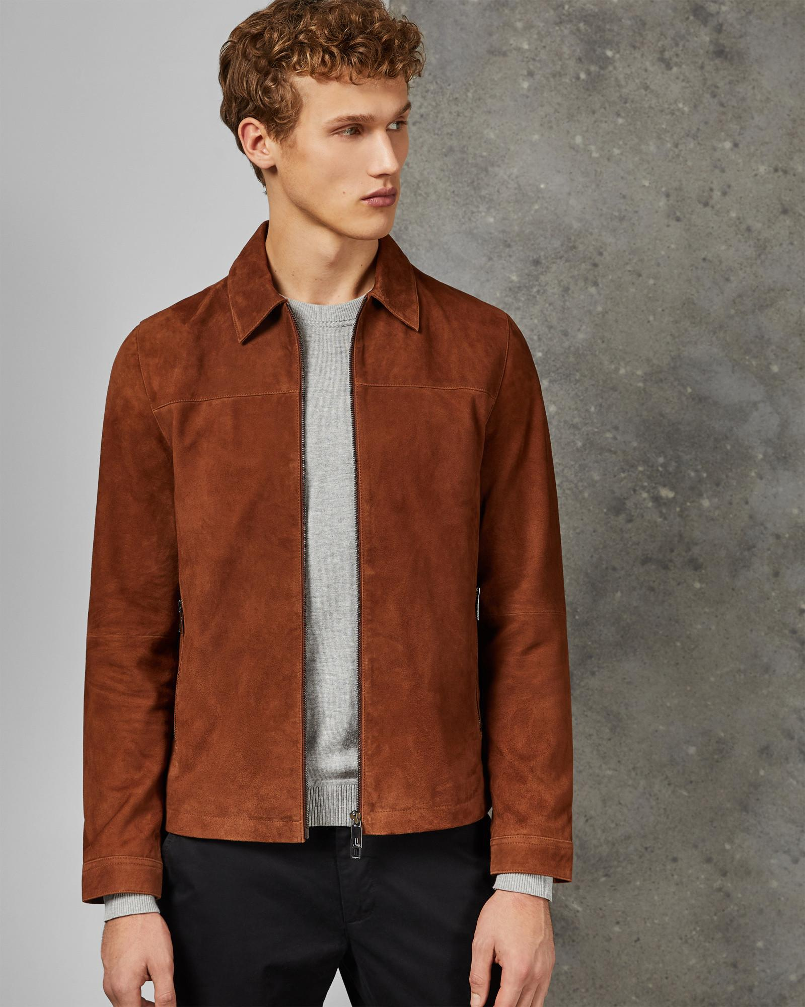 f929e43729bf Ted Baker Suede Zip Through Jacket in Brown for Men - Lyst