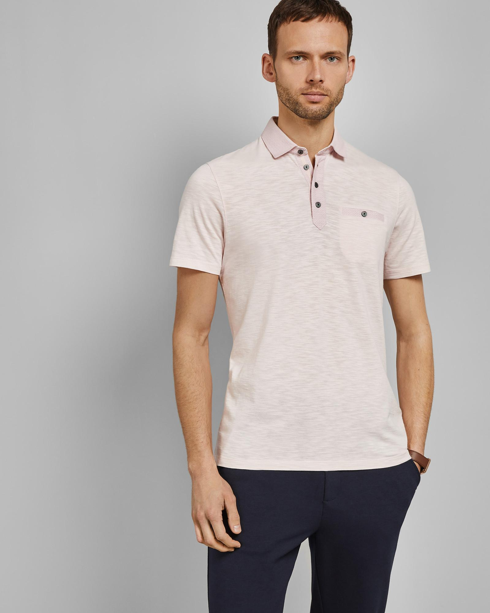 364cb00ffab2 Lyst - Ted Baker Saharah Geo Collar Regular Fit Polo Shirt in Pink for Men