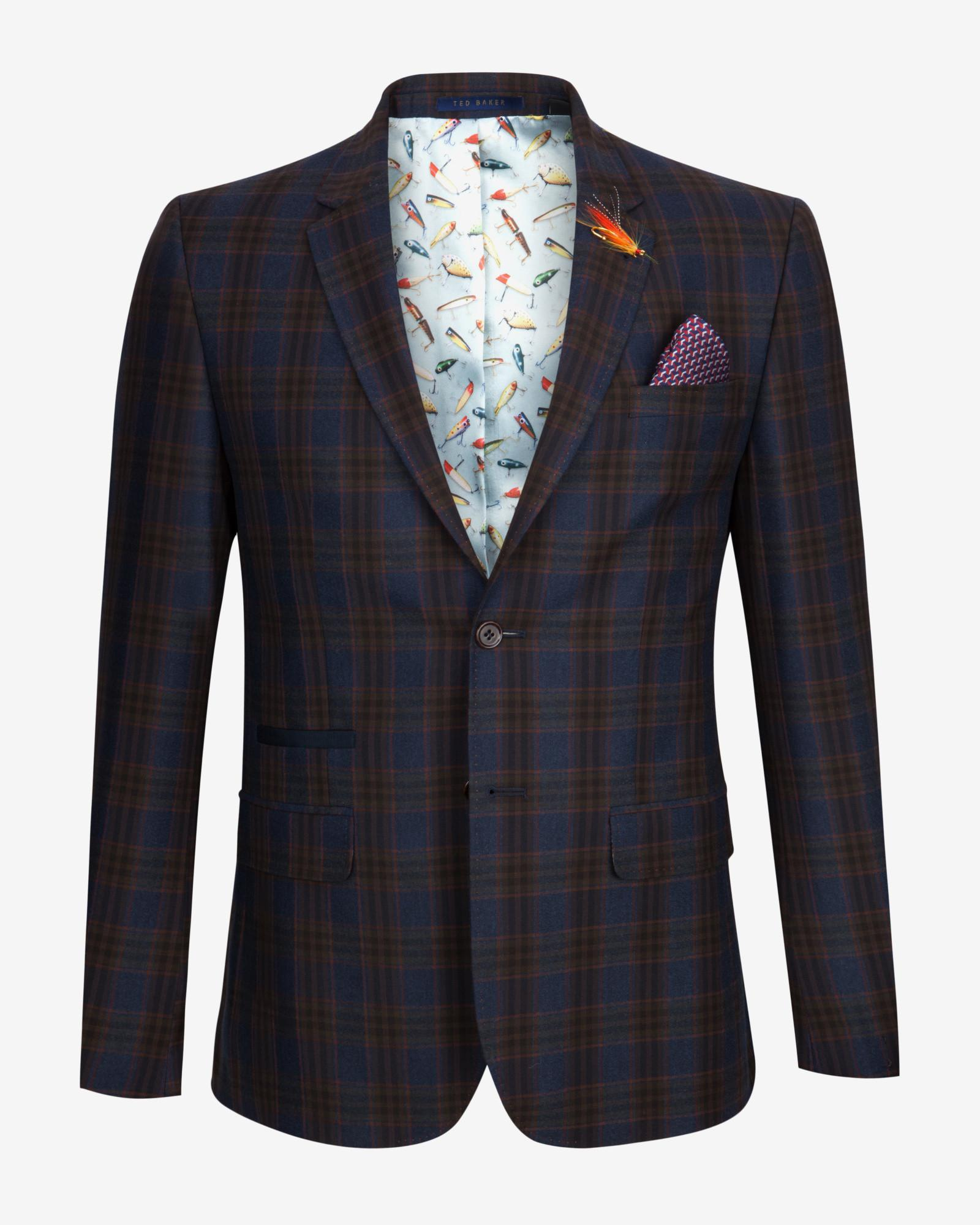 Ted Baker Tight Lines Checked Wool Blazer In Black For Men