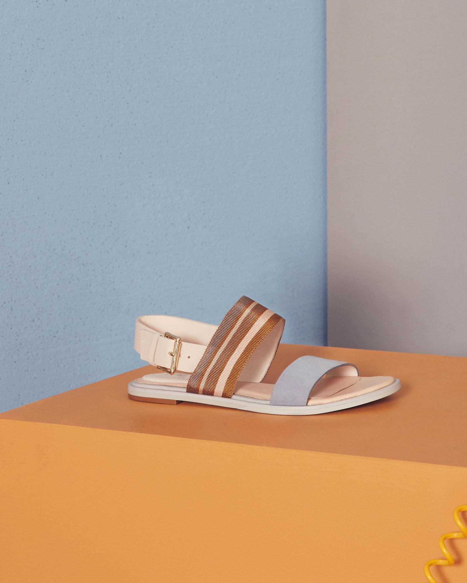 2fe60ce999e9 Lyst - Ted Baker Flat Buckle Sandals in White