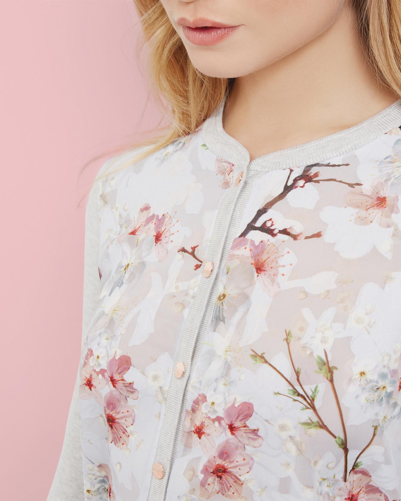 f1e10b24b5b Lyst - Ted Baker Oriental Blossom Cardigan in Gray