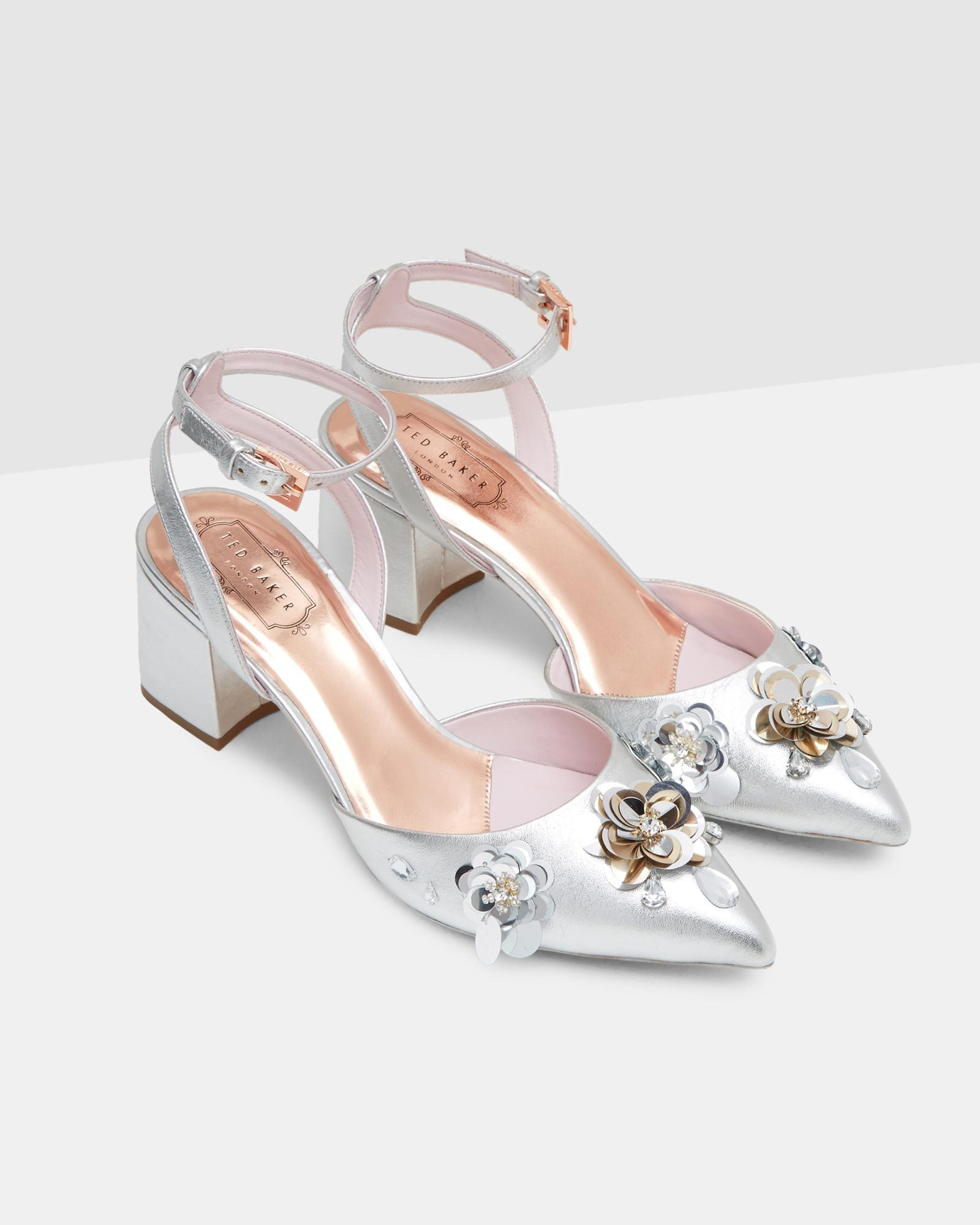 c4521cf6e93 Lyst - Ted Baker Floral Embellished Leather Sandals in Metallic