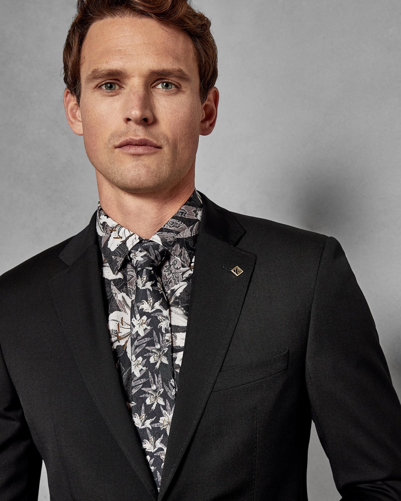 c3e9a0e45 Ted Baker Debonair Plain Wool Suit Jacket in Black for Men - Lyst