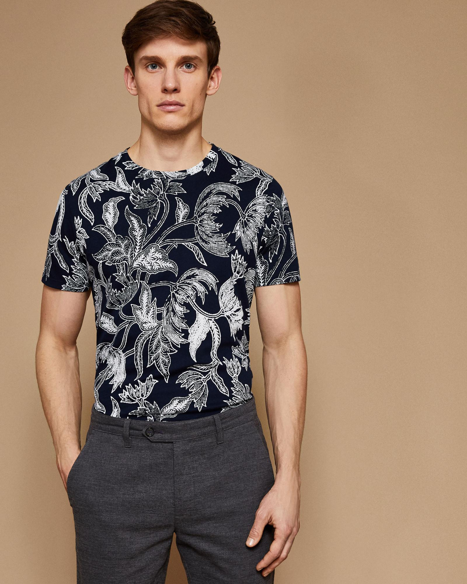 81a401f1a0ea Ted Baker Floral Cotton T-shirt in Blue for Men - Lyst