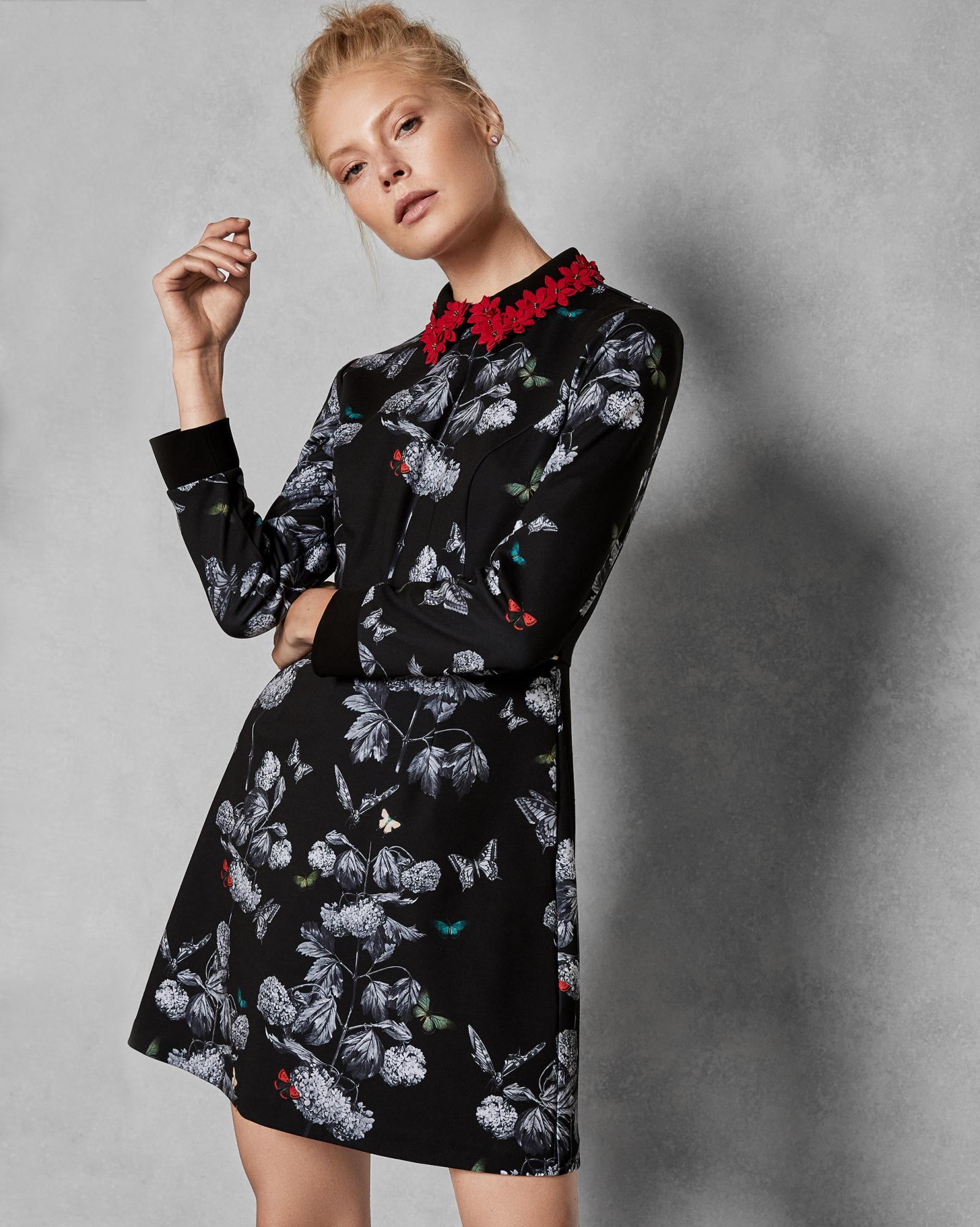 0a2b0ee129ff Lyst - Ted Baker Narnia Collar Dress in Black