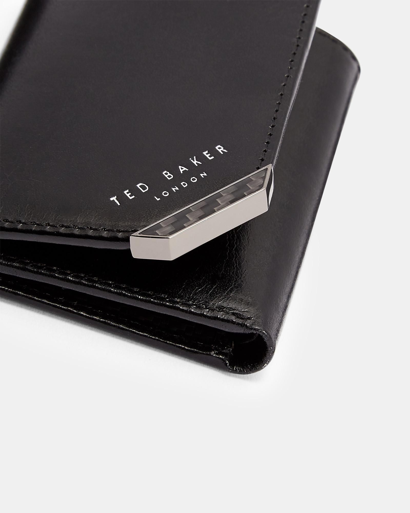 c64a0693d62 Ted Baker - Black Carbon Fibre Trifold Leather Wallet for Men - Lyst. View  fullscreen