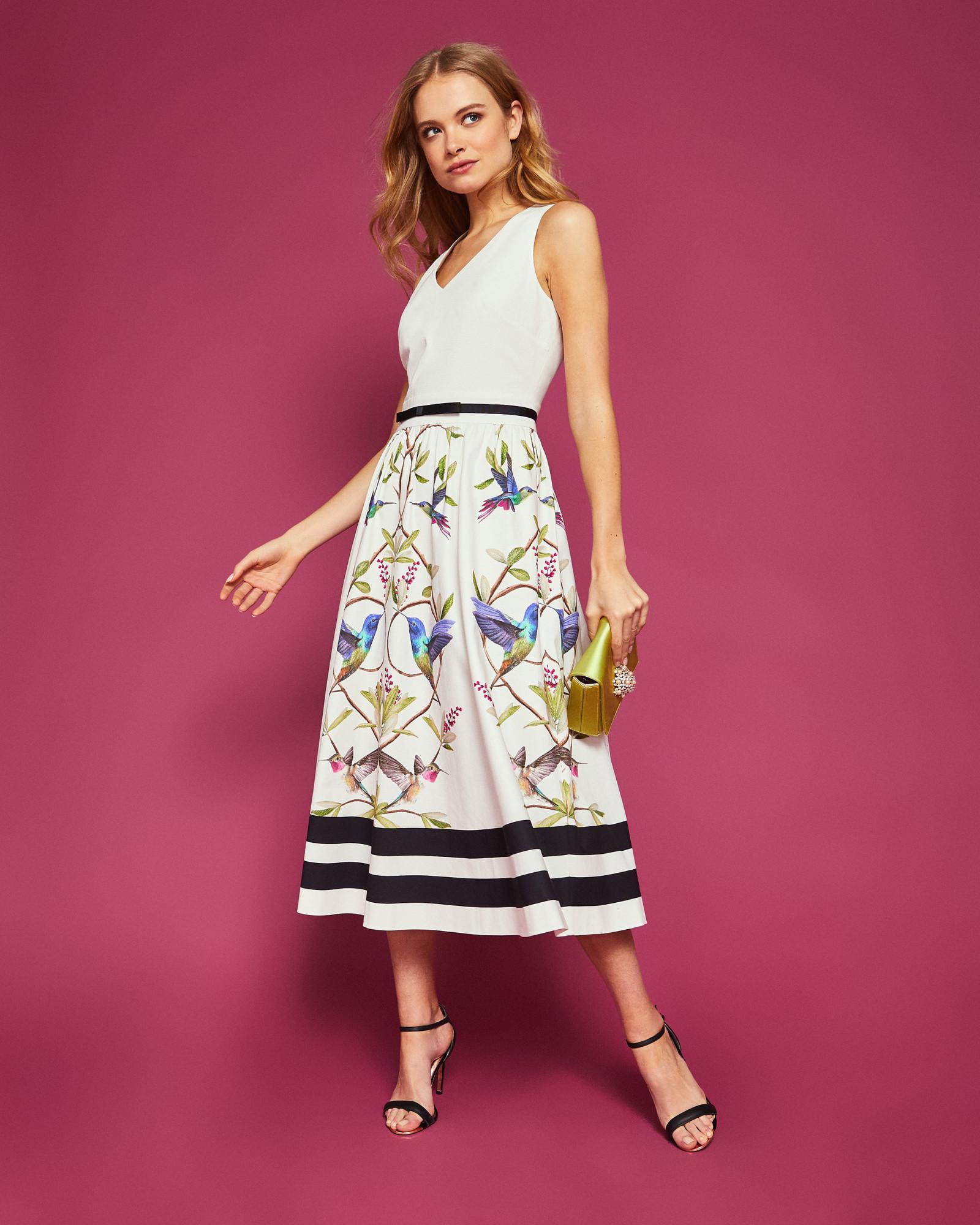 8e7c8b813985 Ted Baker Highgrove V-neck Cotton Midi Dress in White - Lyst