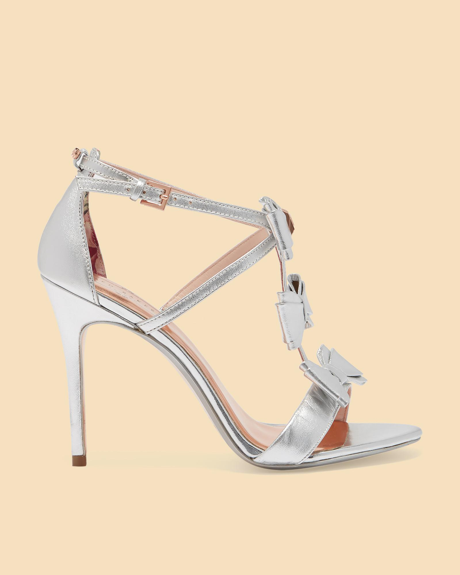 5a85862839cb Lyst - Ted Baker Triple Bow Detail Heeled Sandals