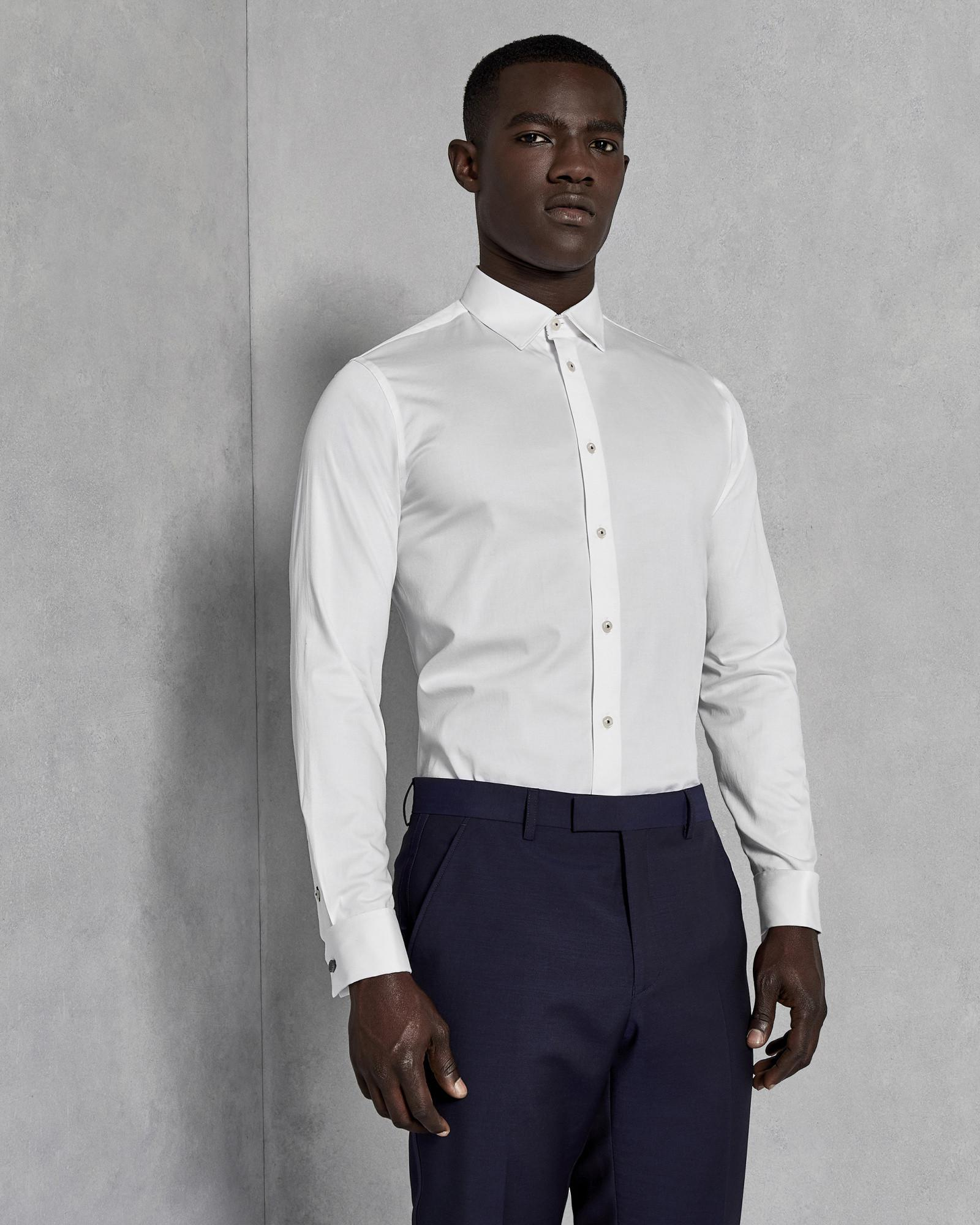 4d52d4ba46db8 Lyst - Ted Baker Classic Fit Plain Cotton Shirt in White for Men