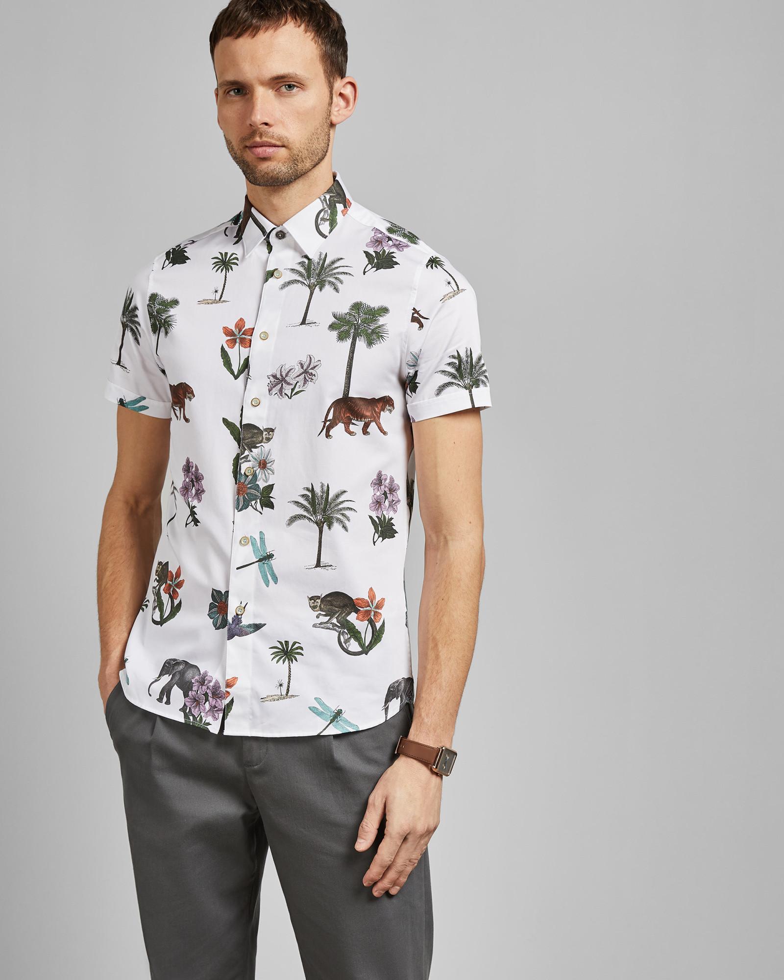 2e9e9c98bc26 Ted Baker Short Sleeved Jungle Print Cotton Shirt in White for Men - Lyst