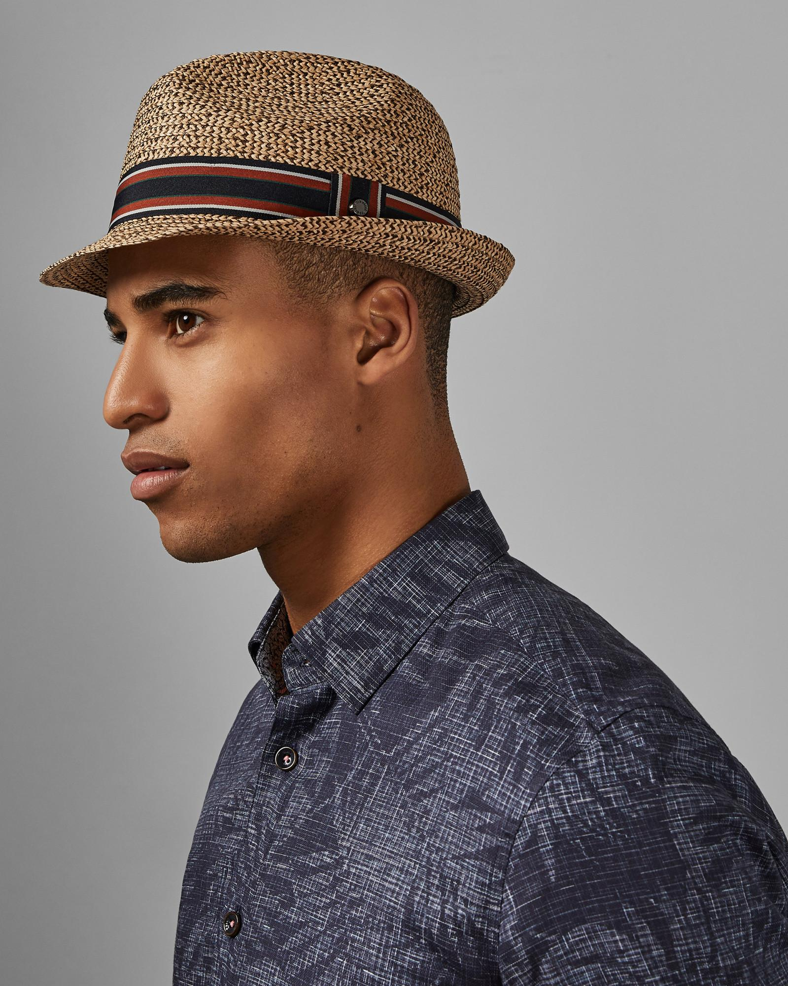 4ff2c83d4 Ted Baker Textured Trilby Hat in Natural for Men - Lyst