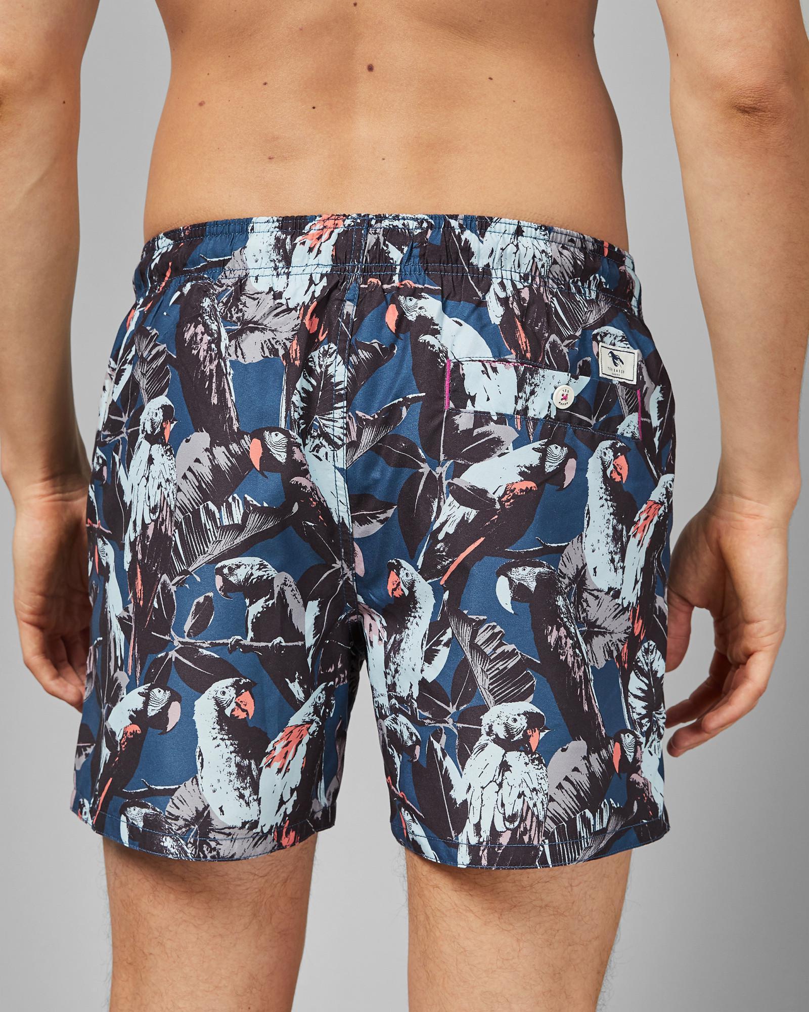 dedf16cd01 Lyst - Ted Baker Parrot Print Short Swim Shorts in Blue for Men