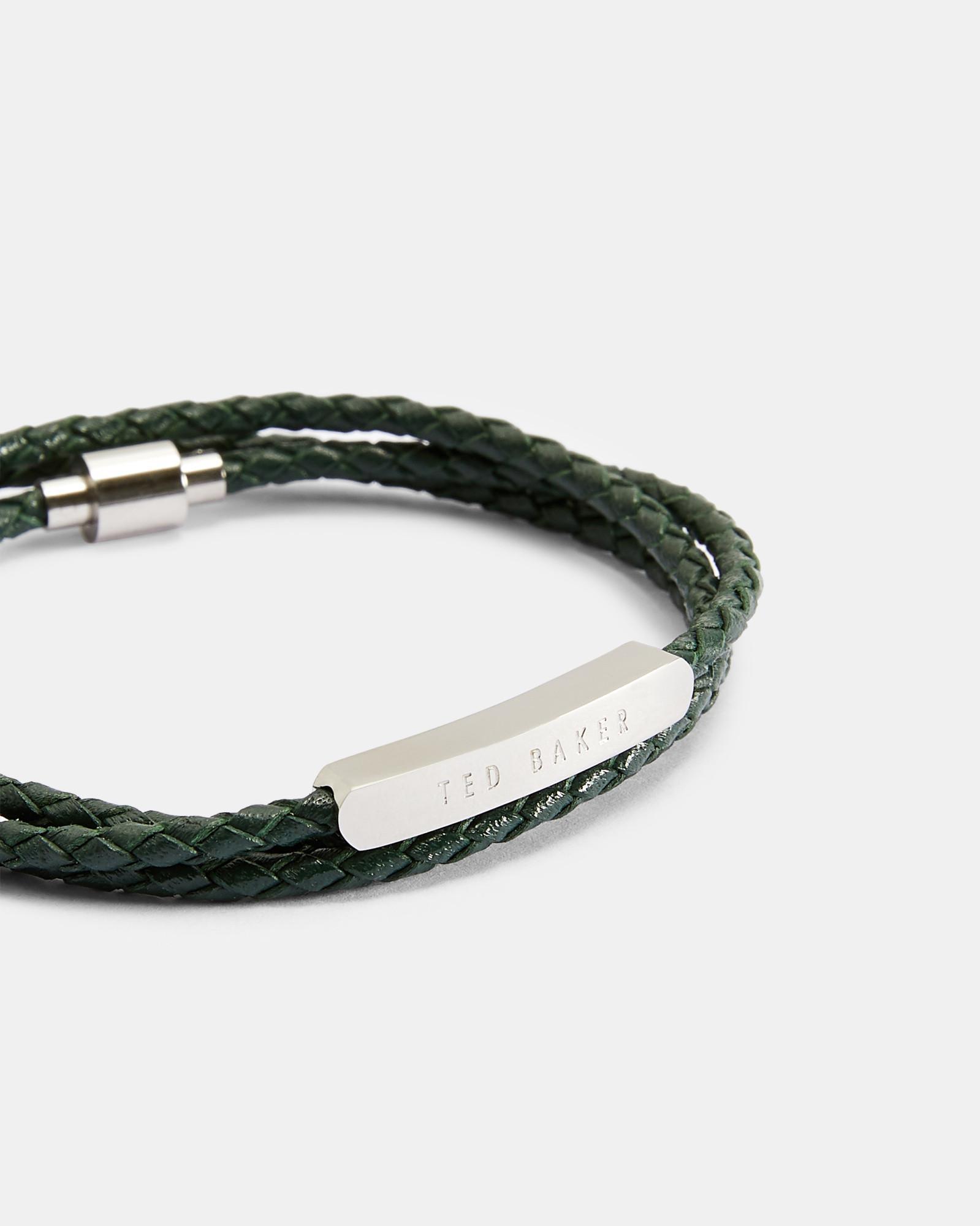 490c73fef Ted Baker Triple Wrap Leather Bracelet in Green for Men - Lyst