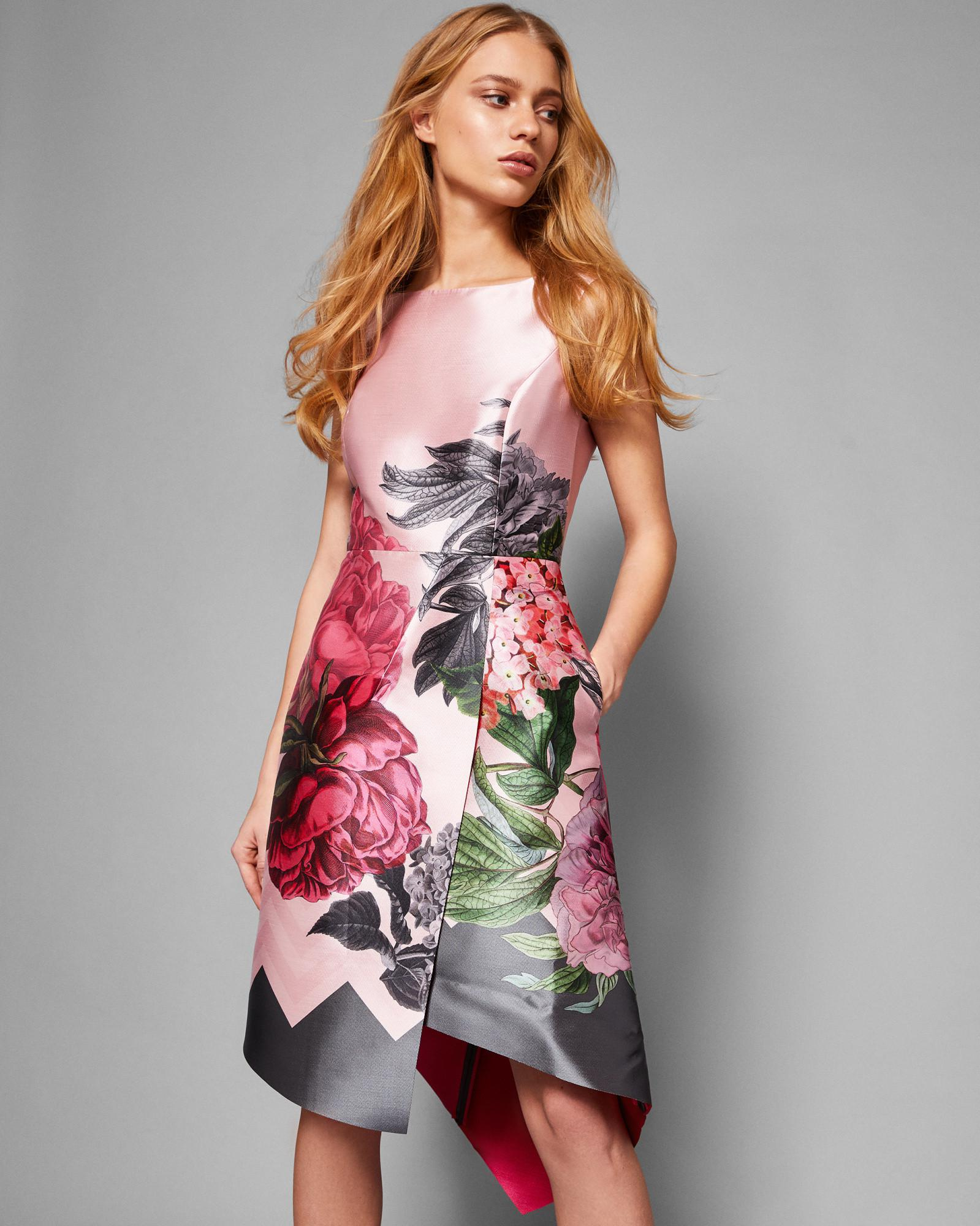 6c779ca468a5fc Ted Baker Palace Gardens Asymmetric Dress in Gray - Lyst