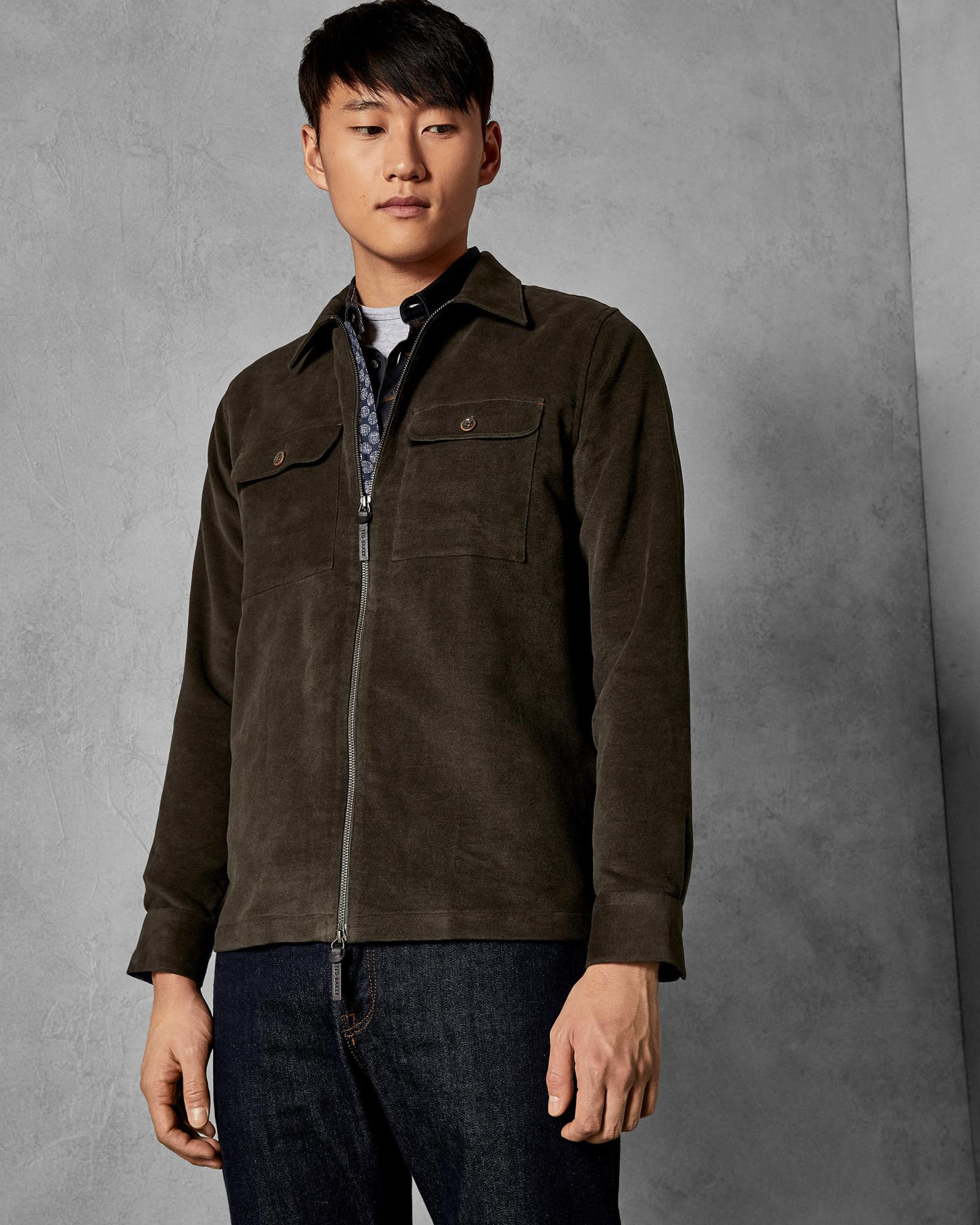 28407b8bd4ad13 Ted Baker - Gray Two Pocket Zipped Cotton Shacket for Men - Lyst. View  fullscreen