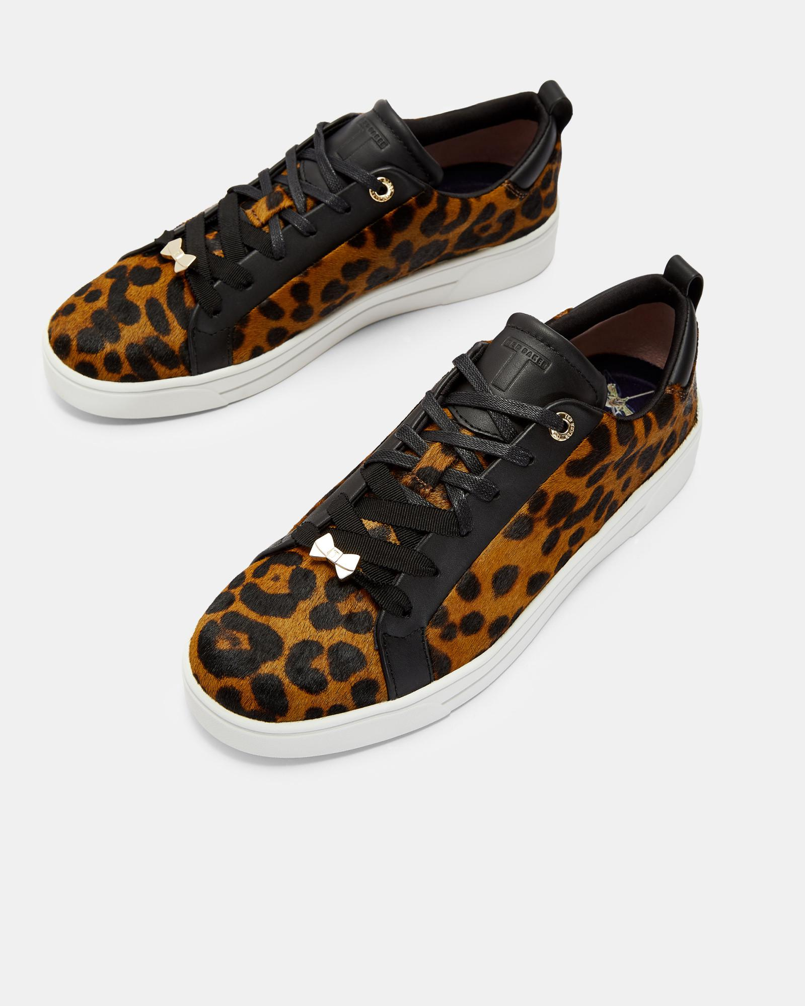 03d32a91fa0df Lyst - Ted Baker Leopard Print Trainers in Black
