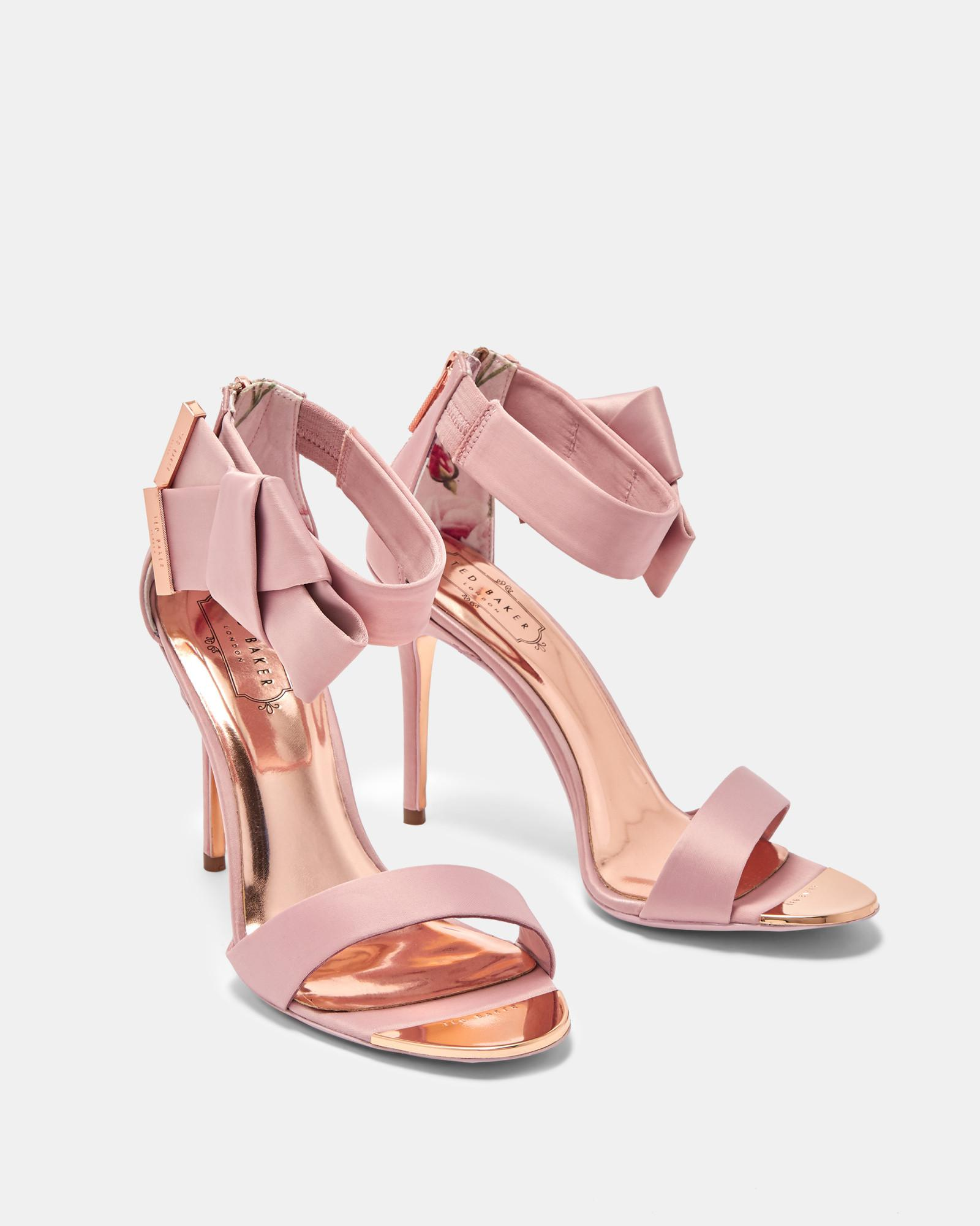 06dd54b14 Lyst - Ted Baker Knotted Bow Satin Sandals in Pink
