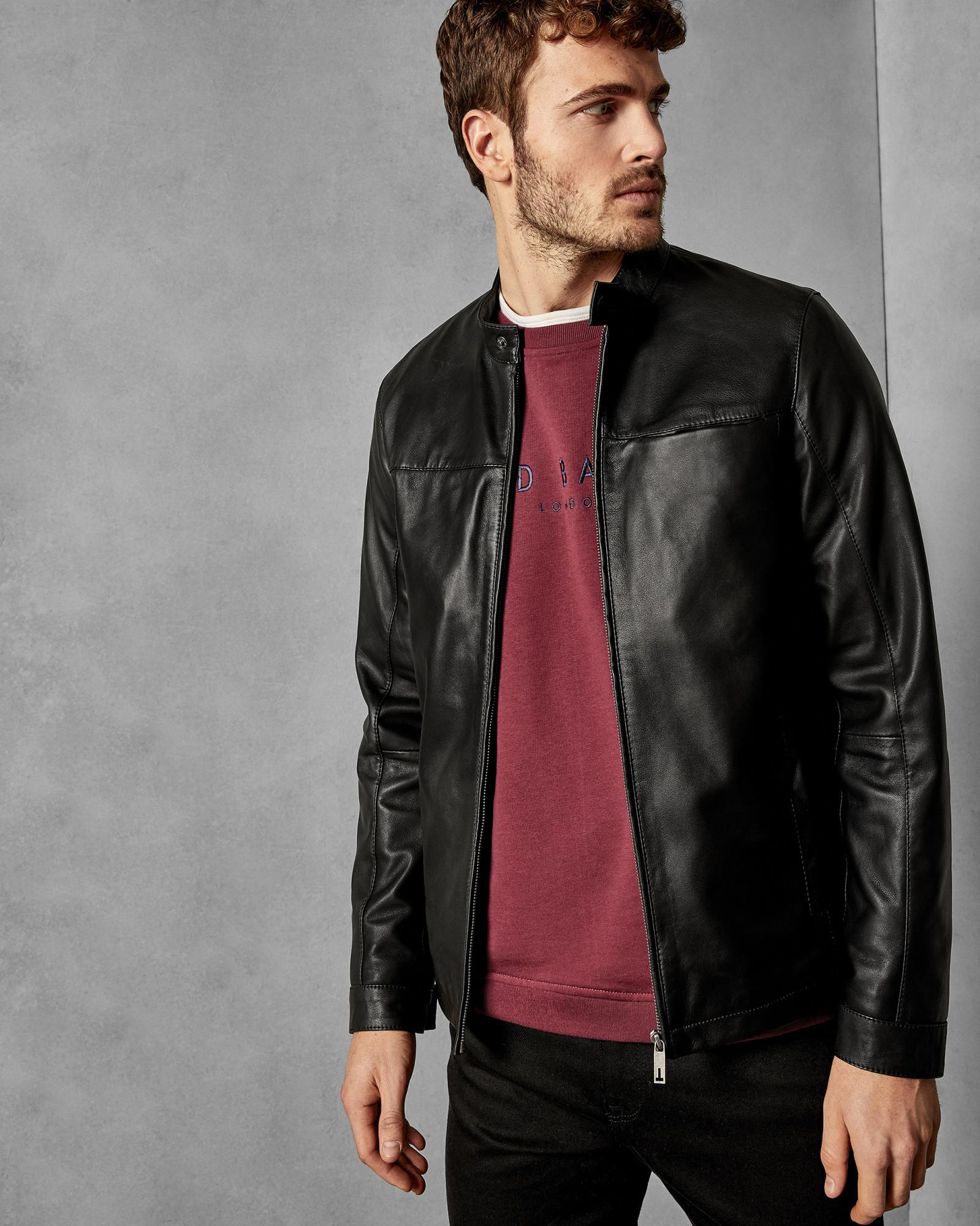 0df6bcbc1d7e00 Ted Baker Leather Jacket in Black for Men - Lyst