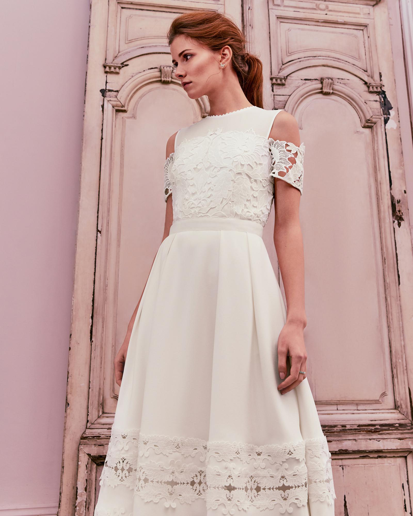 Ted Baker Structured Lace Midi Dress in White - Lyst