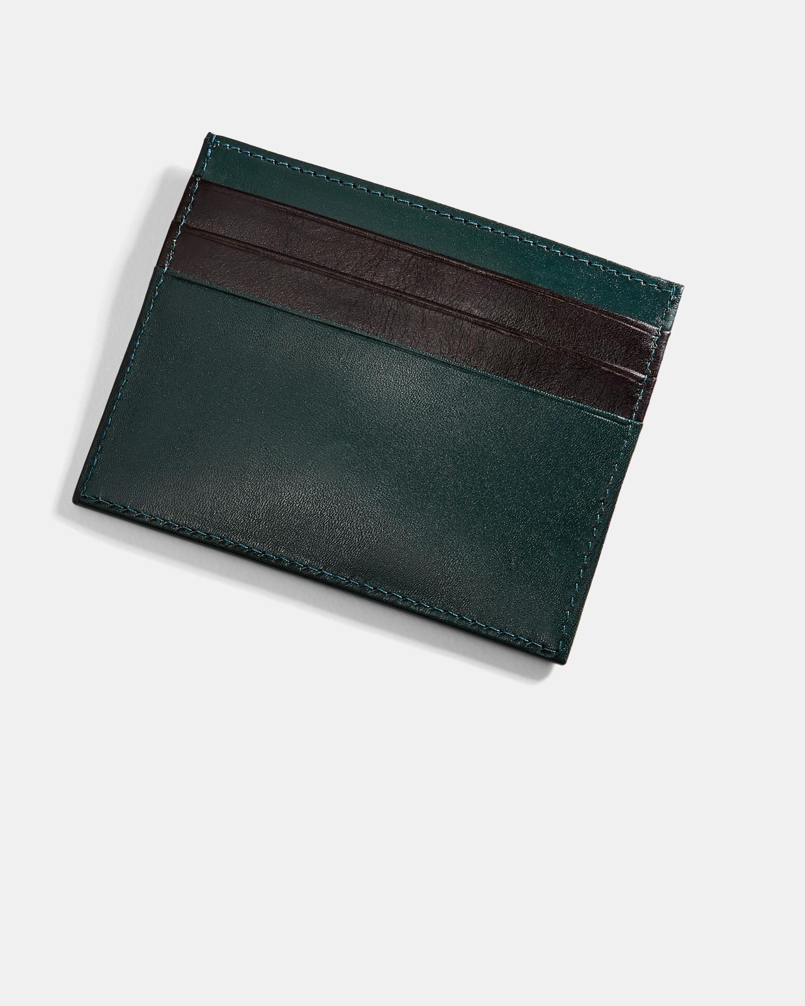 527790ac13b84c Lyst - Ted Baker Contrast Stripe Leather Cardholder in Green for Men