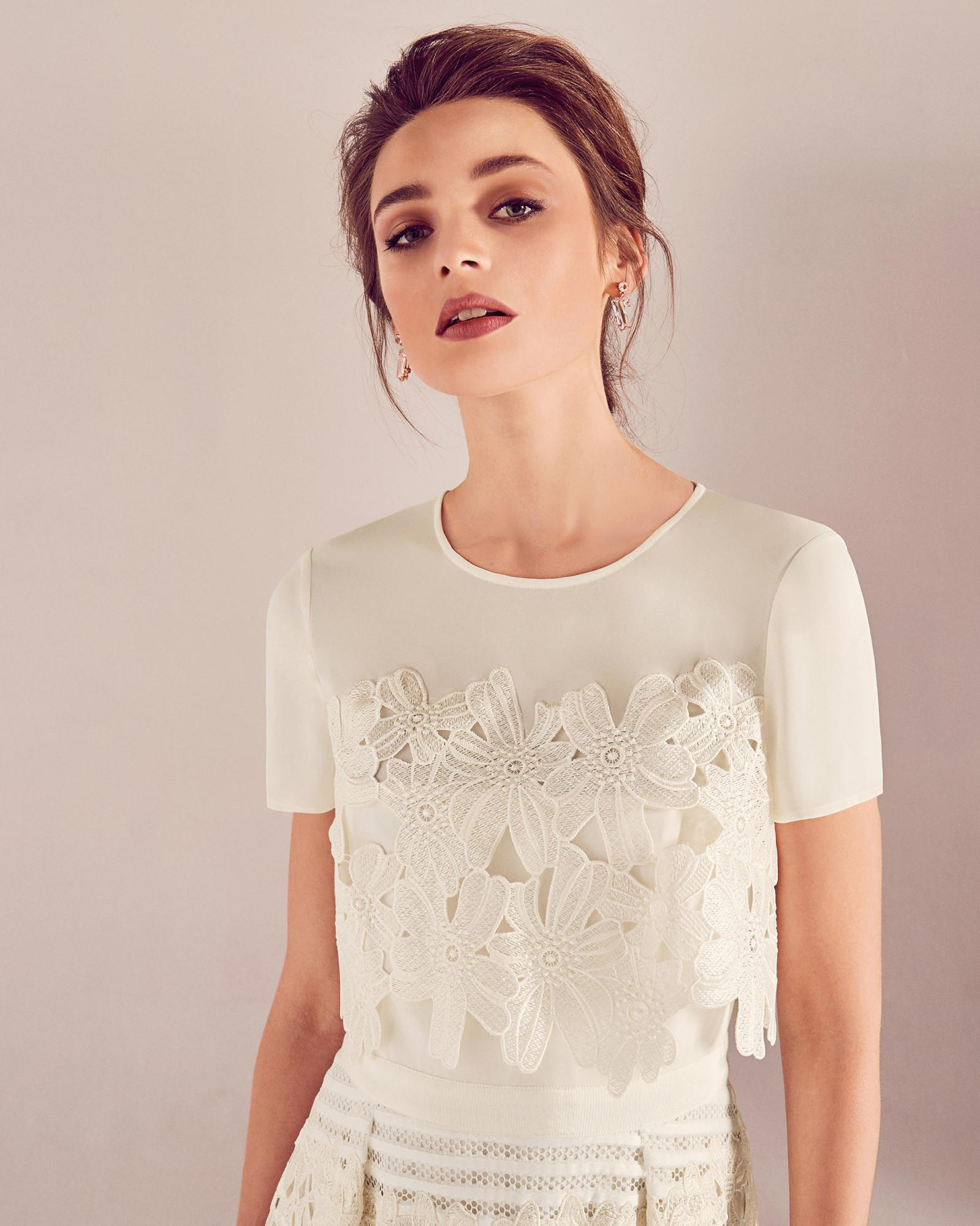 Ted Baker Guipure Lace Sheer Panel Wedding Dress in White - Lyst