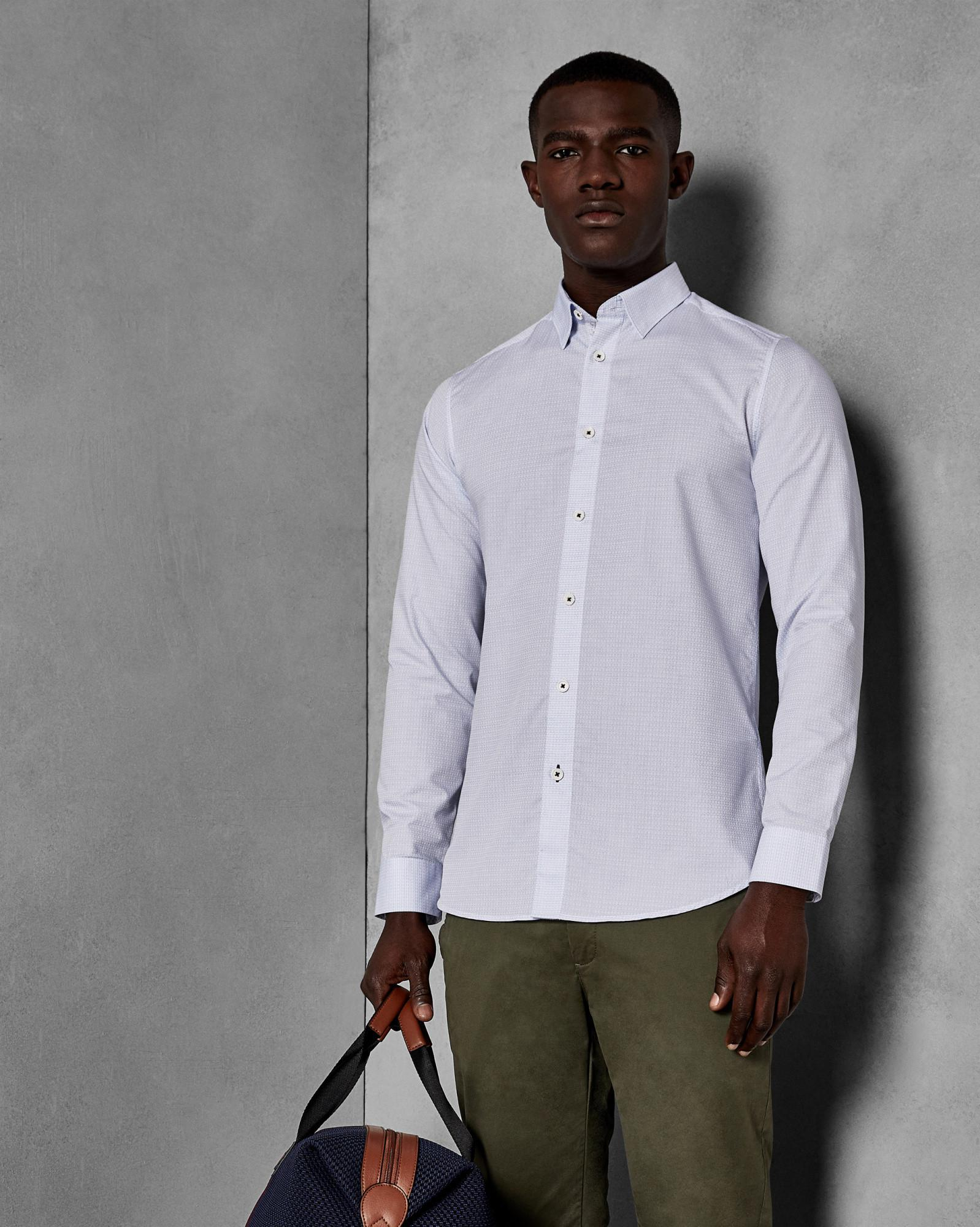 92b5b8cb5a61f Ted Baker Cotton Jacquard Shirt in White for Men - Lyst