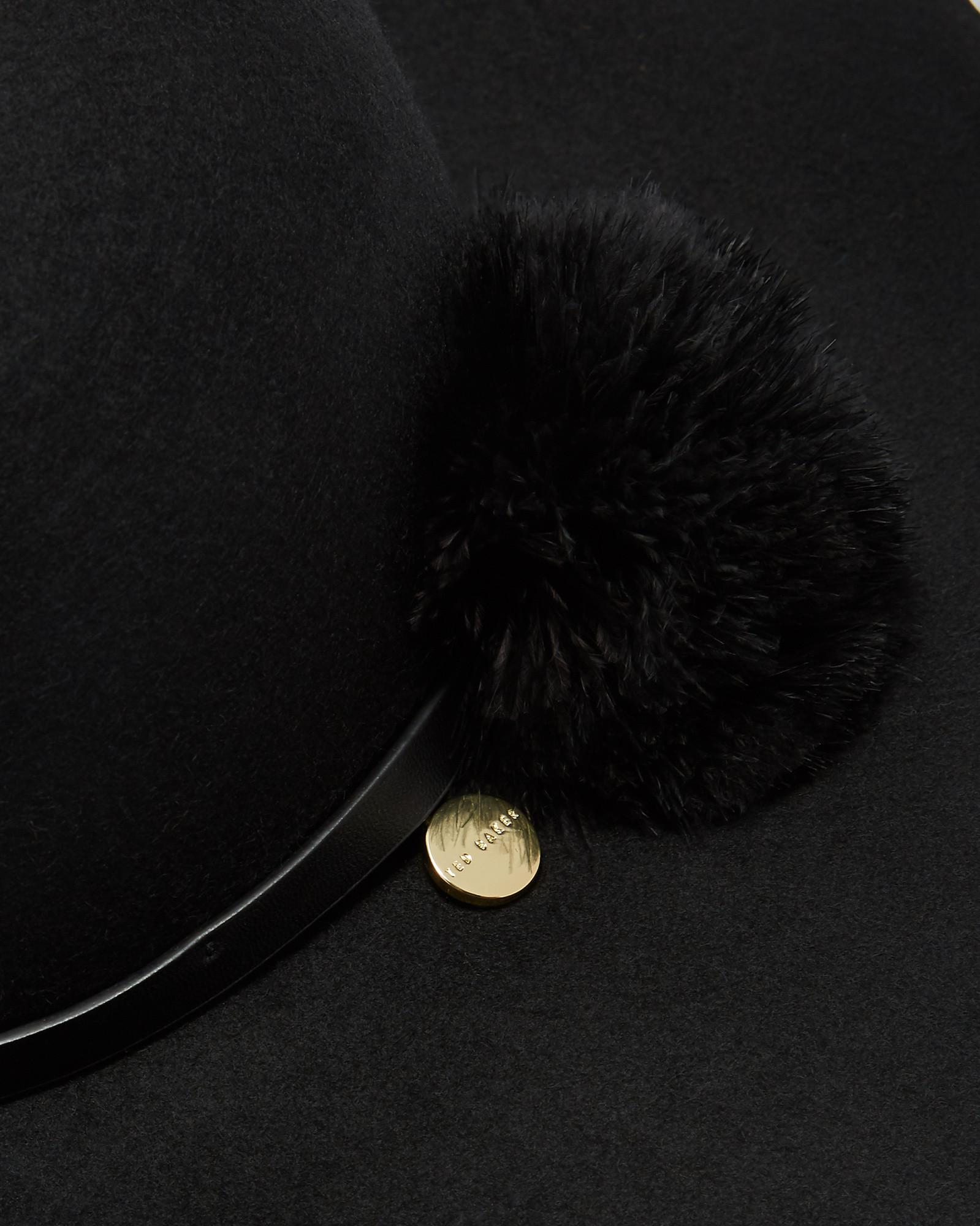 4303168078315a Lyst - Ted Baker Feather Pom Pom Floppy Hat in Black