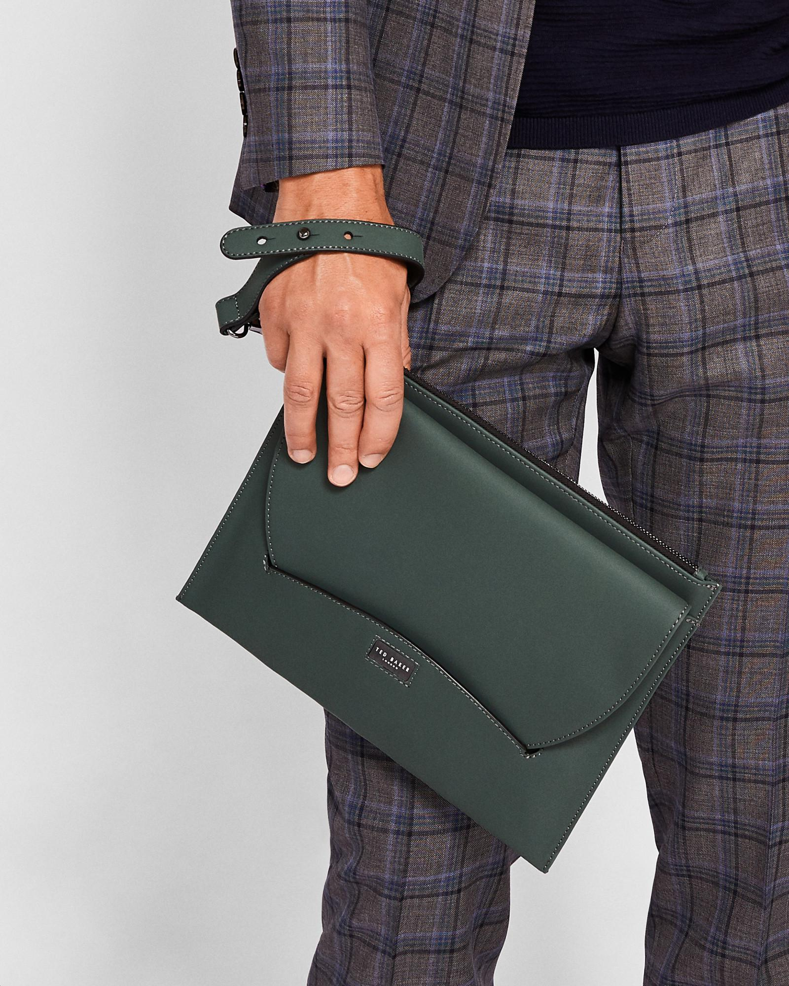 56c70594488 Ted Baker Rubber Leather Pouch in Green for Men - Lyst
