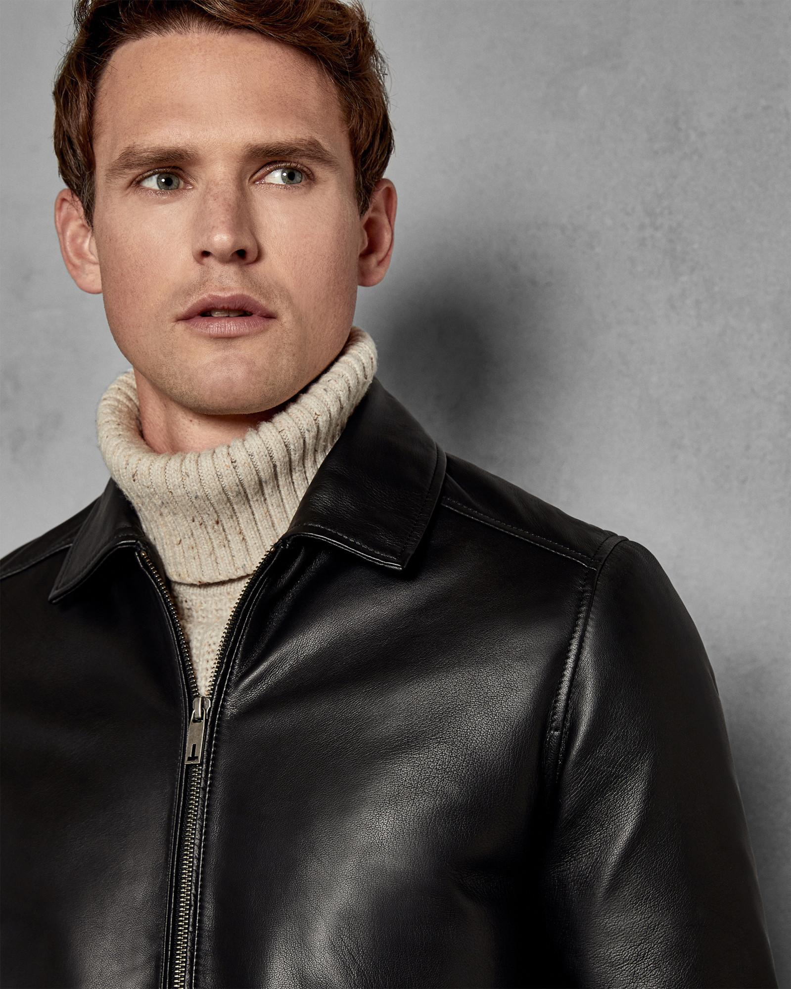 e80951674 Ted Baker Collared Leather Jacket in Black for Men - Lyst
