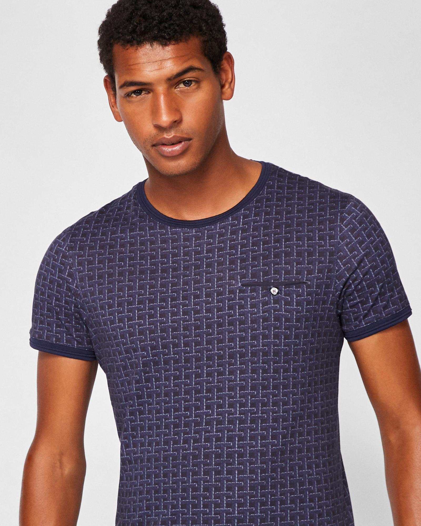 05109735352c Ted Baker Printed Cotton T-shirt in Blue for Men - Lyst