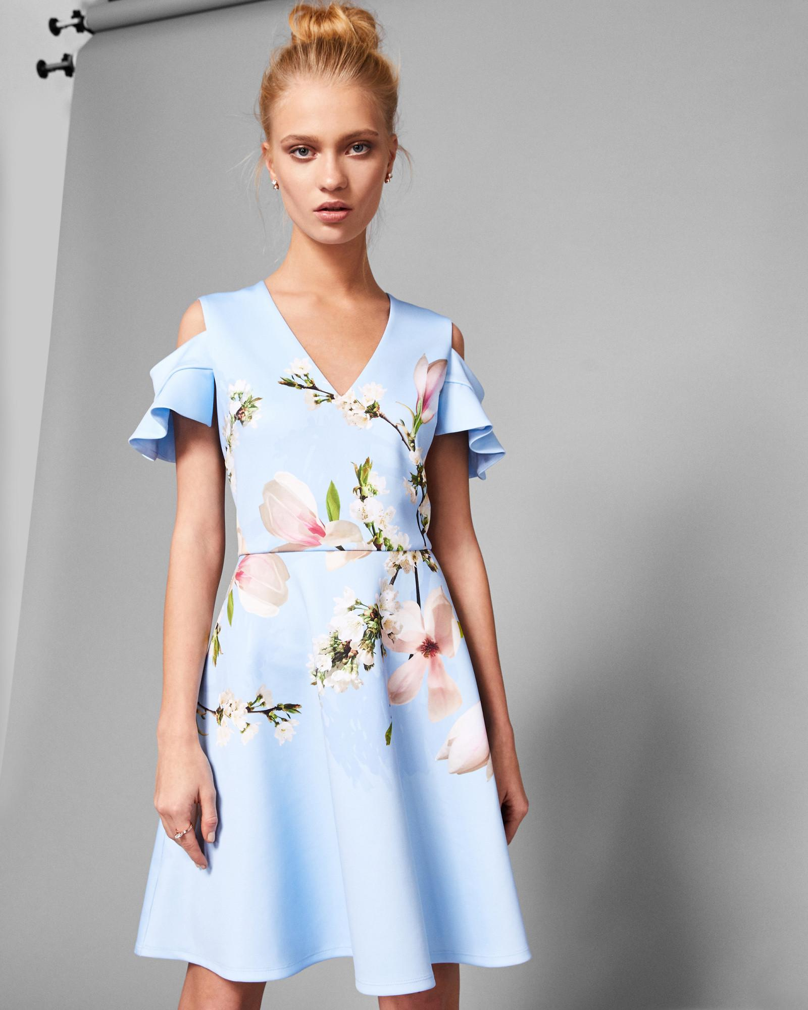 a96a536f68 Ted Baker Harmony Cold Shoulder Skater Dress in Blue - Lyst