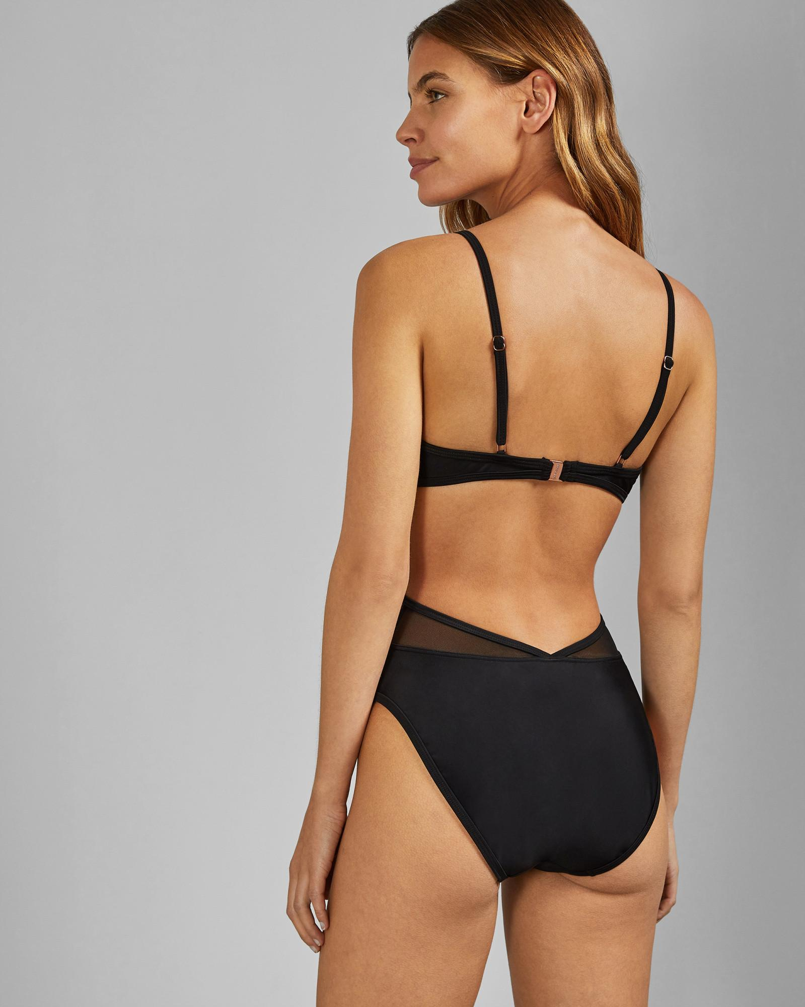 8b50d7cd8bcda Ted Baker Low V Mesh Cut Out Swimsuit in Black - Lyst
