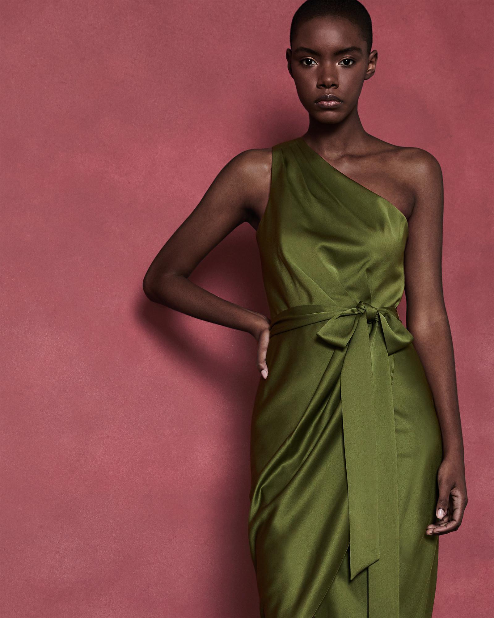 c9628c2f89e44 ... Ted Baker - Green One Shoulder Drape Midi Dress - Lyst. View fullscreen  first rate ...