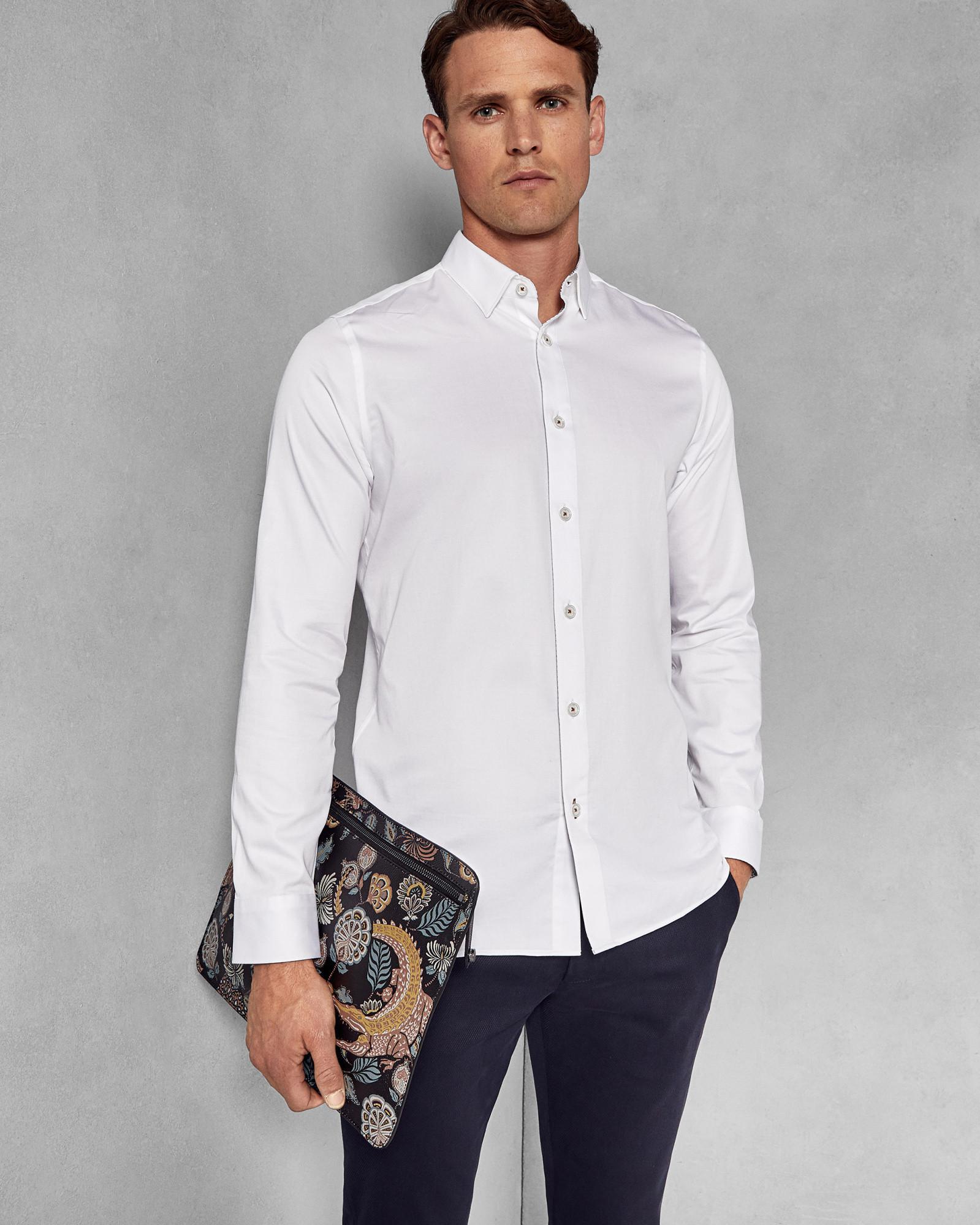 2f78b67e022e45 Ted Baker Satin Stretch Shirt in White for Men - Lyst