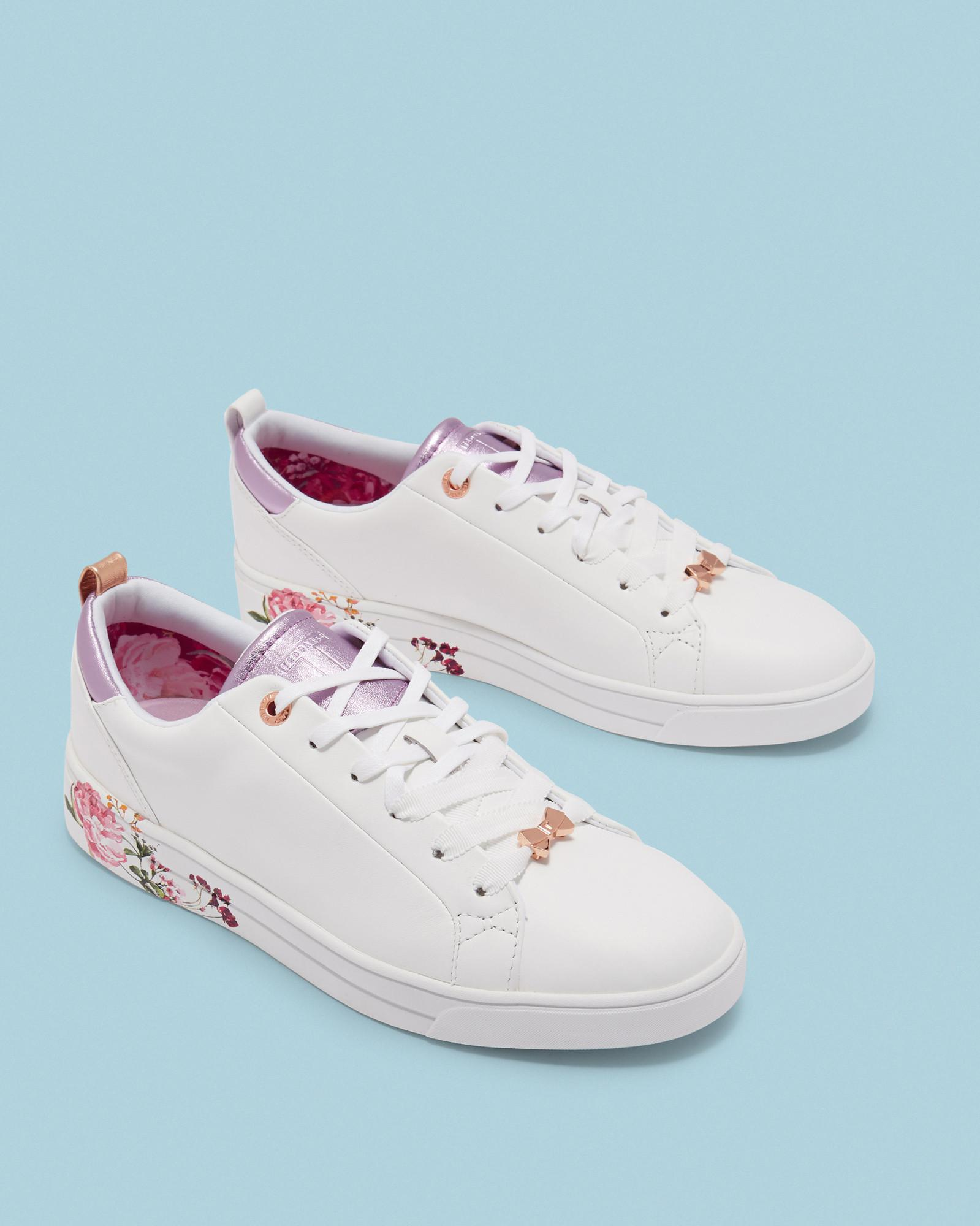 1f25535d4f0208 Lyst - Ted Baker Printed Sole Tennis Trainers in White