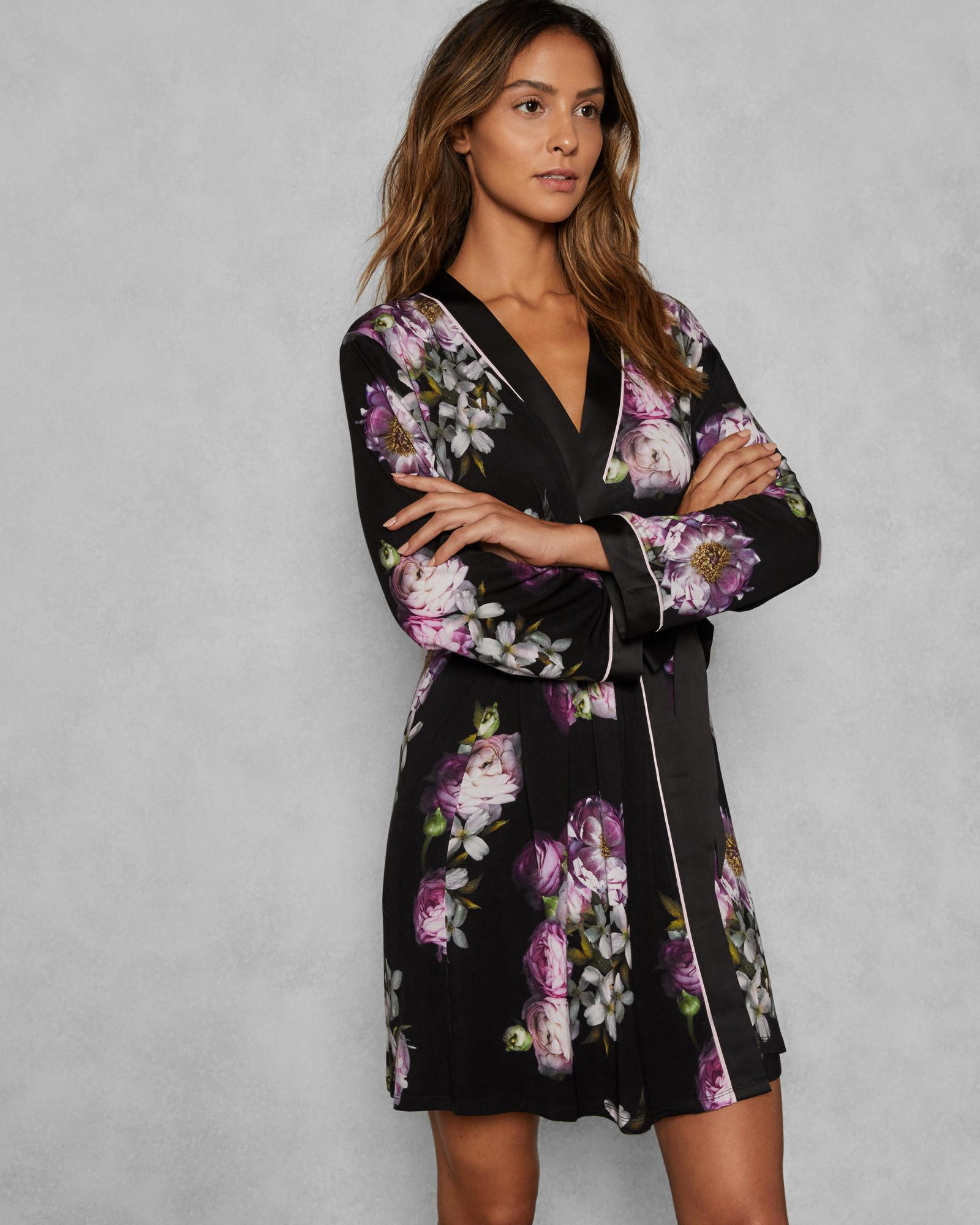 0269bf33ff349 Ted Baker Sunlit Floral Kimono Robe in Black - Lyst