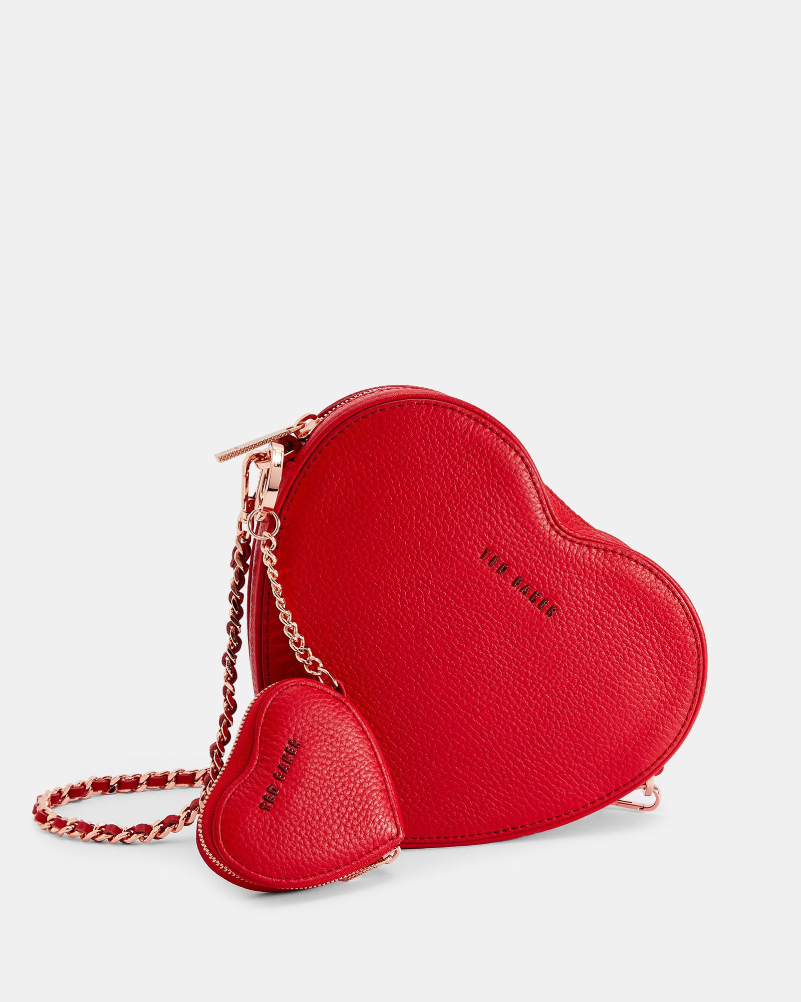 dbd3bd332 Lyst - Ted Baker Heart Leather Coin Purse Keyring in Red
